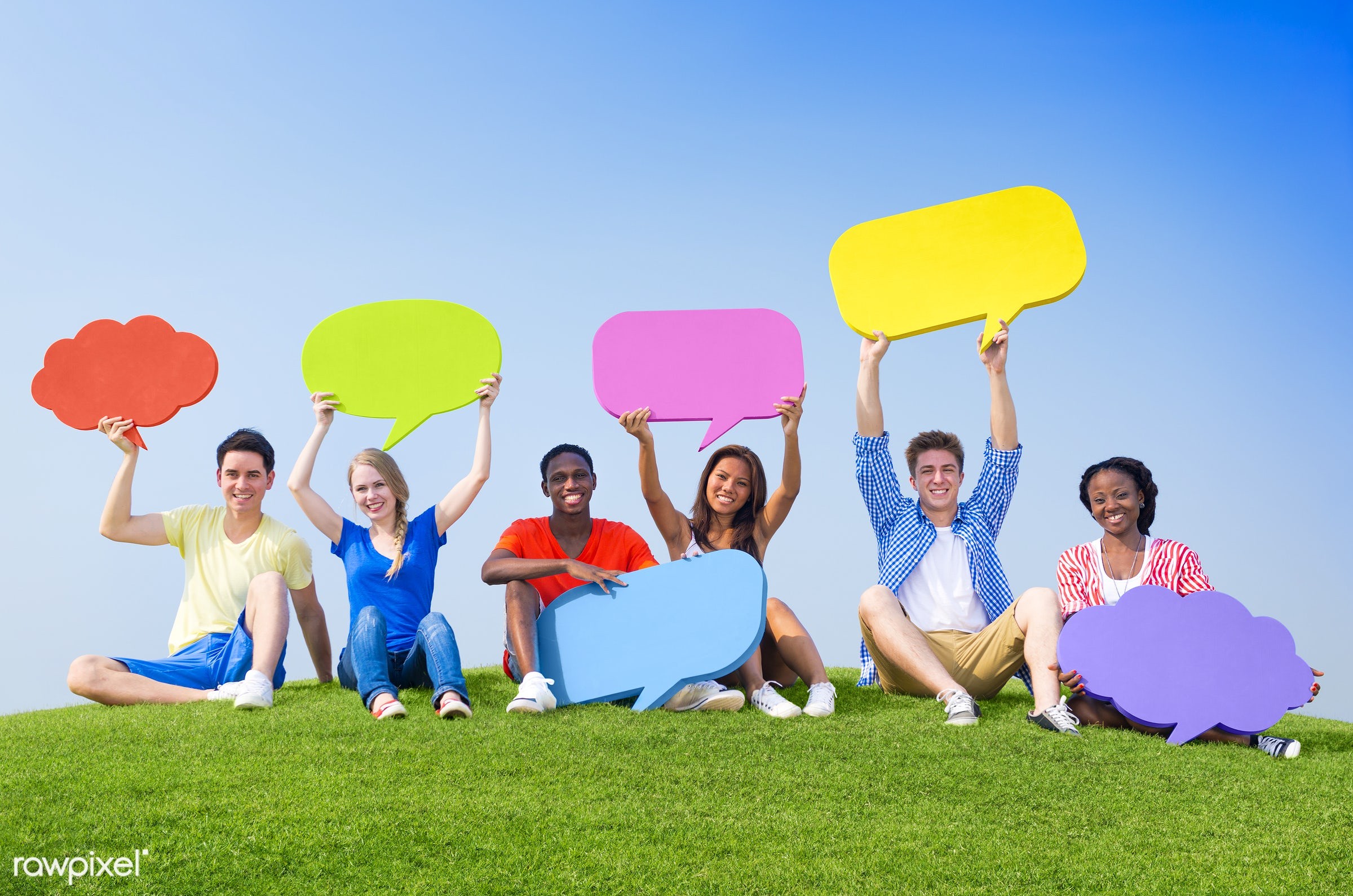 holding, arm raised, blue sky, bubble, chat box, chat bubble, cheerful, cloud, communication, community, confident, connect...