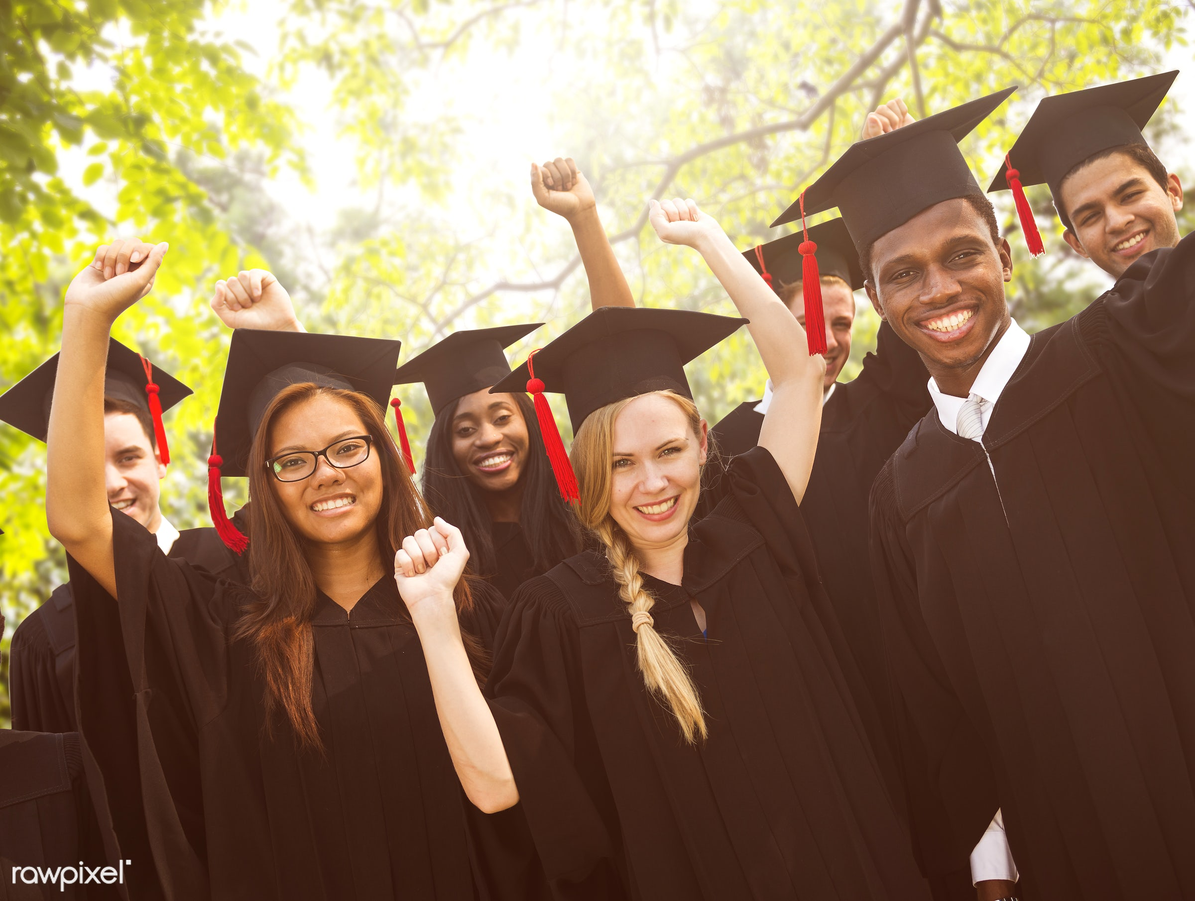 achievement, african descent, arms outstretched, asian ethnicity, cap, celebration, ceremony, certificate, cheerful, college...