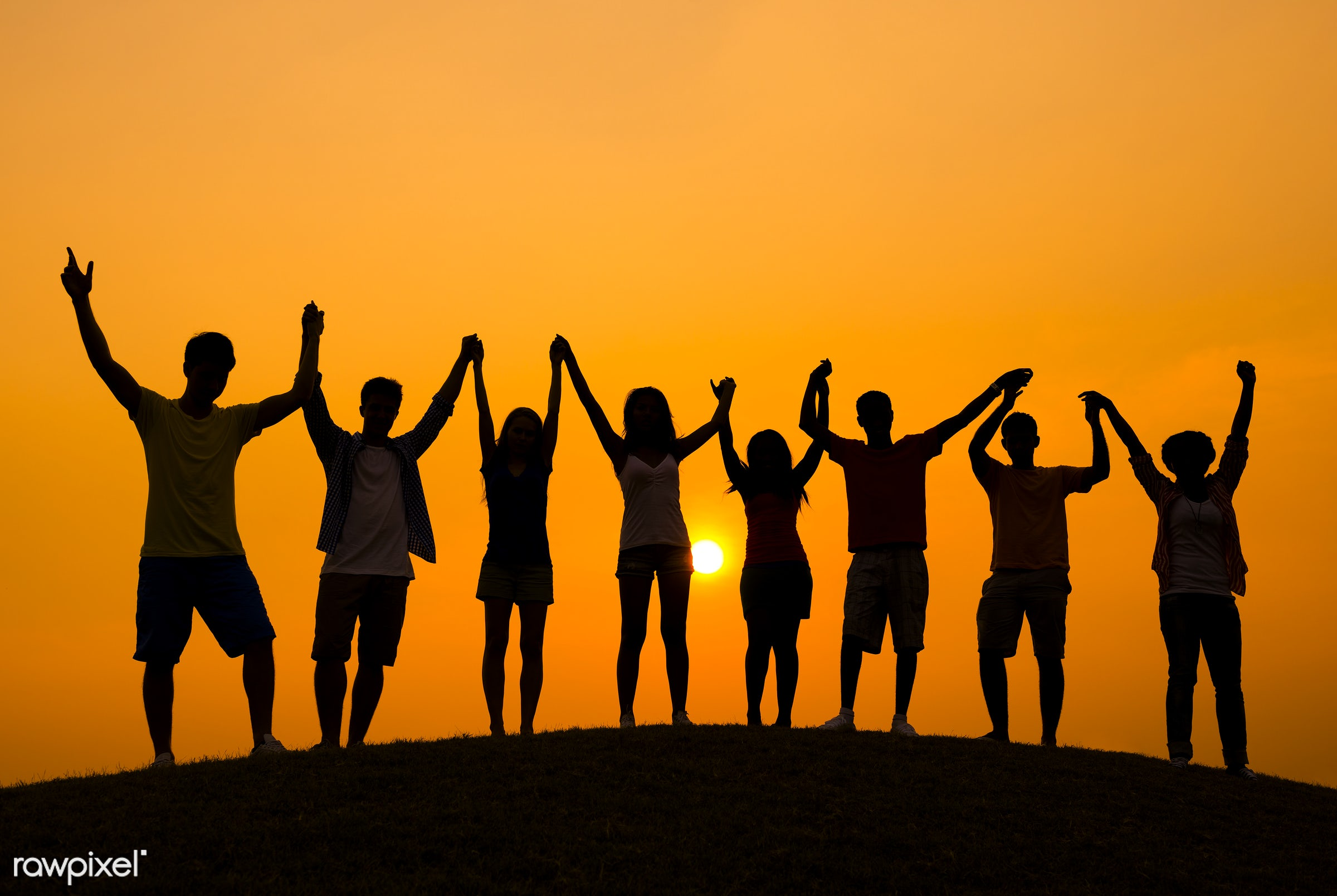Success - sunrise, achievement, arms raised, celebration, cheerful, community, confidence, cooperation, enjoyment,...