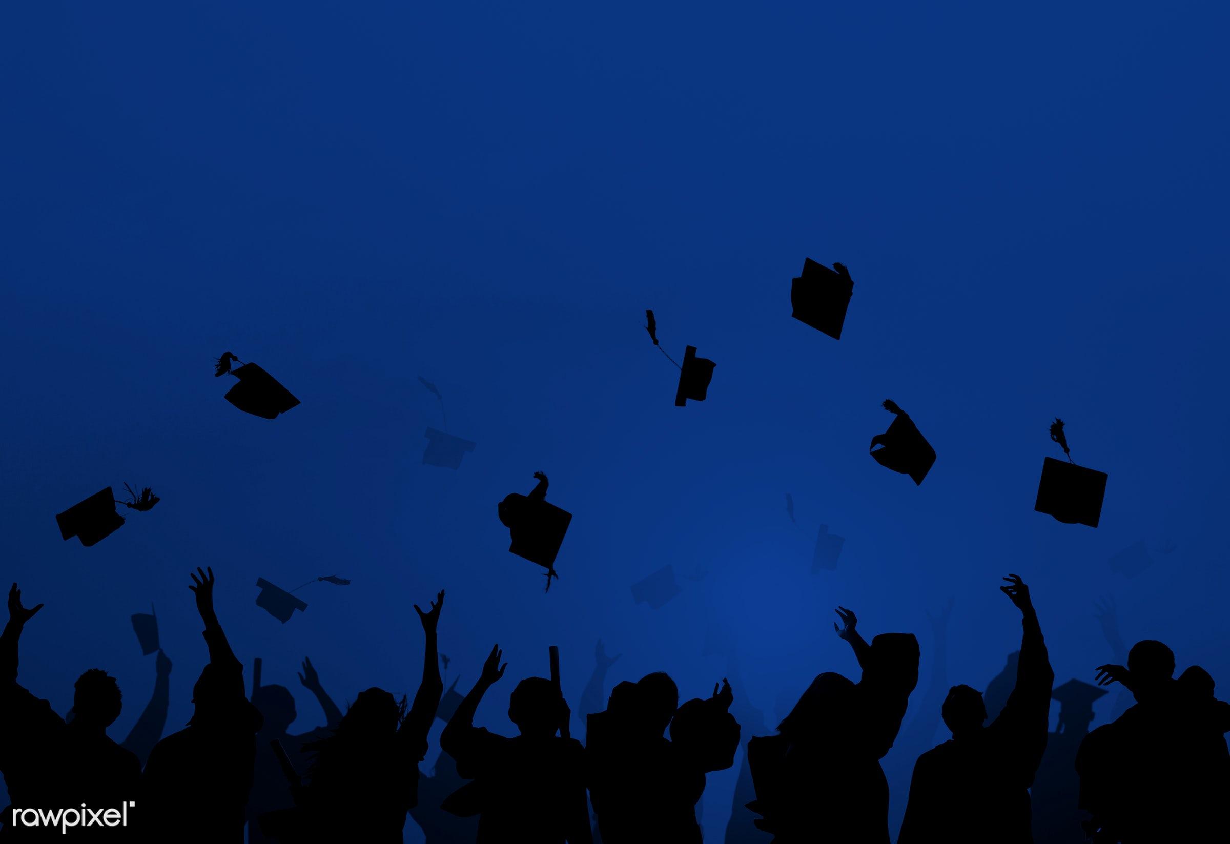congratulations, hat, academic, alumni, arms raised, back lit, blue, cap, celebration, cheerful, classmates, college, crowd...
