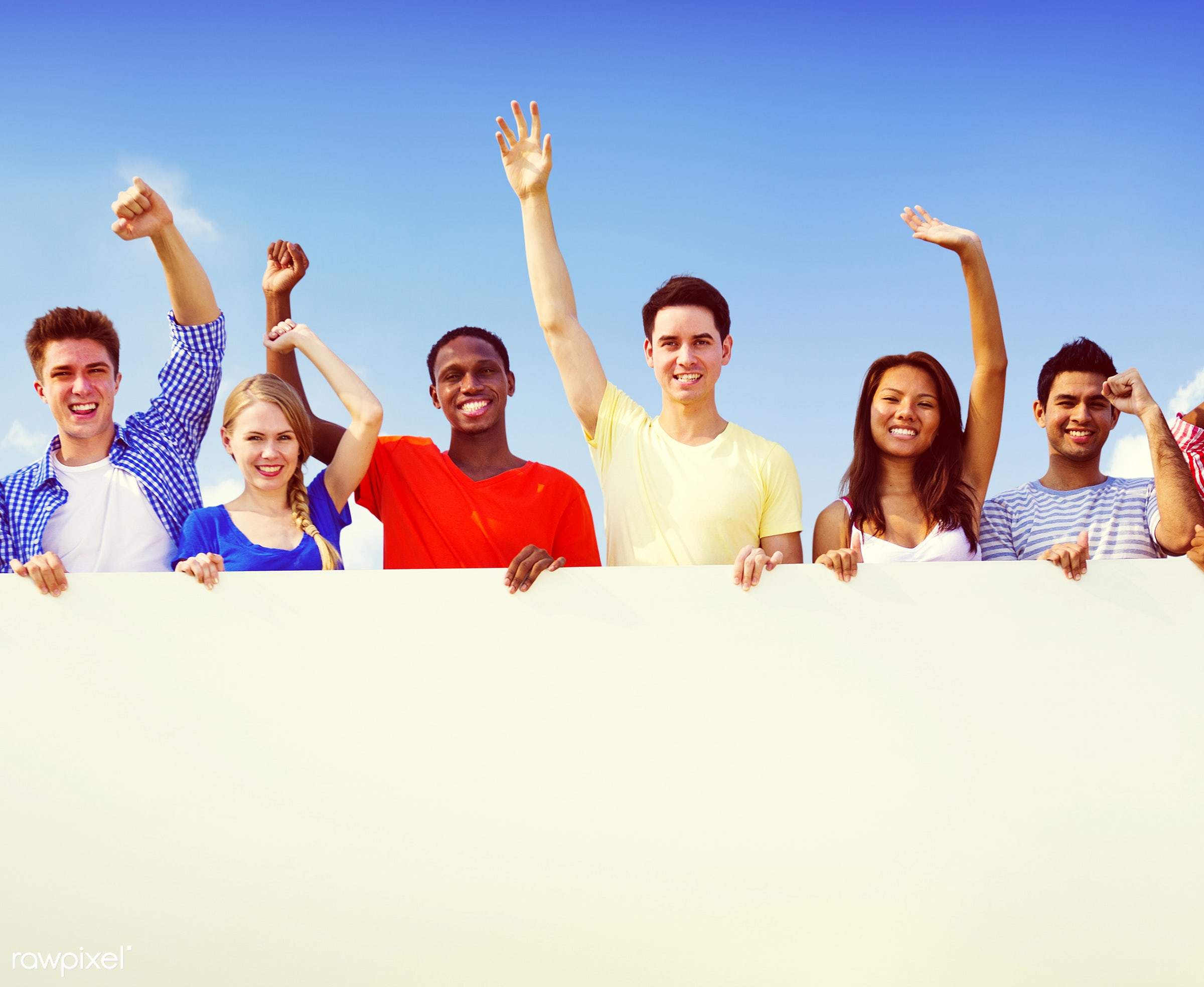 african descent, arms raised, asian ethnicity, banner, blank, blue sky, casual, caucasian, celebration, cheerful, colorful,...