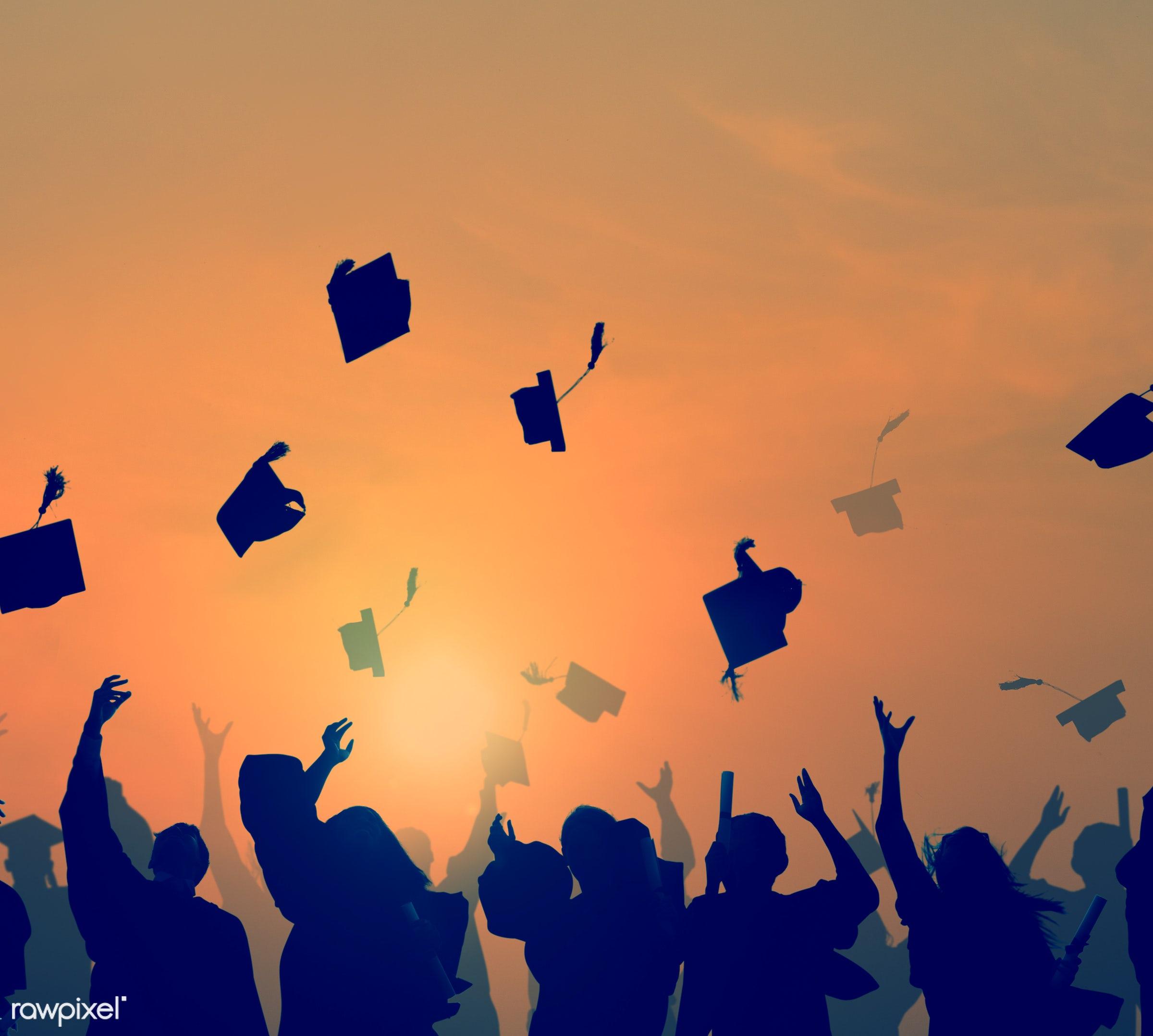 academic, alumni, arms raised, back lit, cap, celebration, cheerful, classmates, college, congratulations, crowd, diploma,...