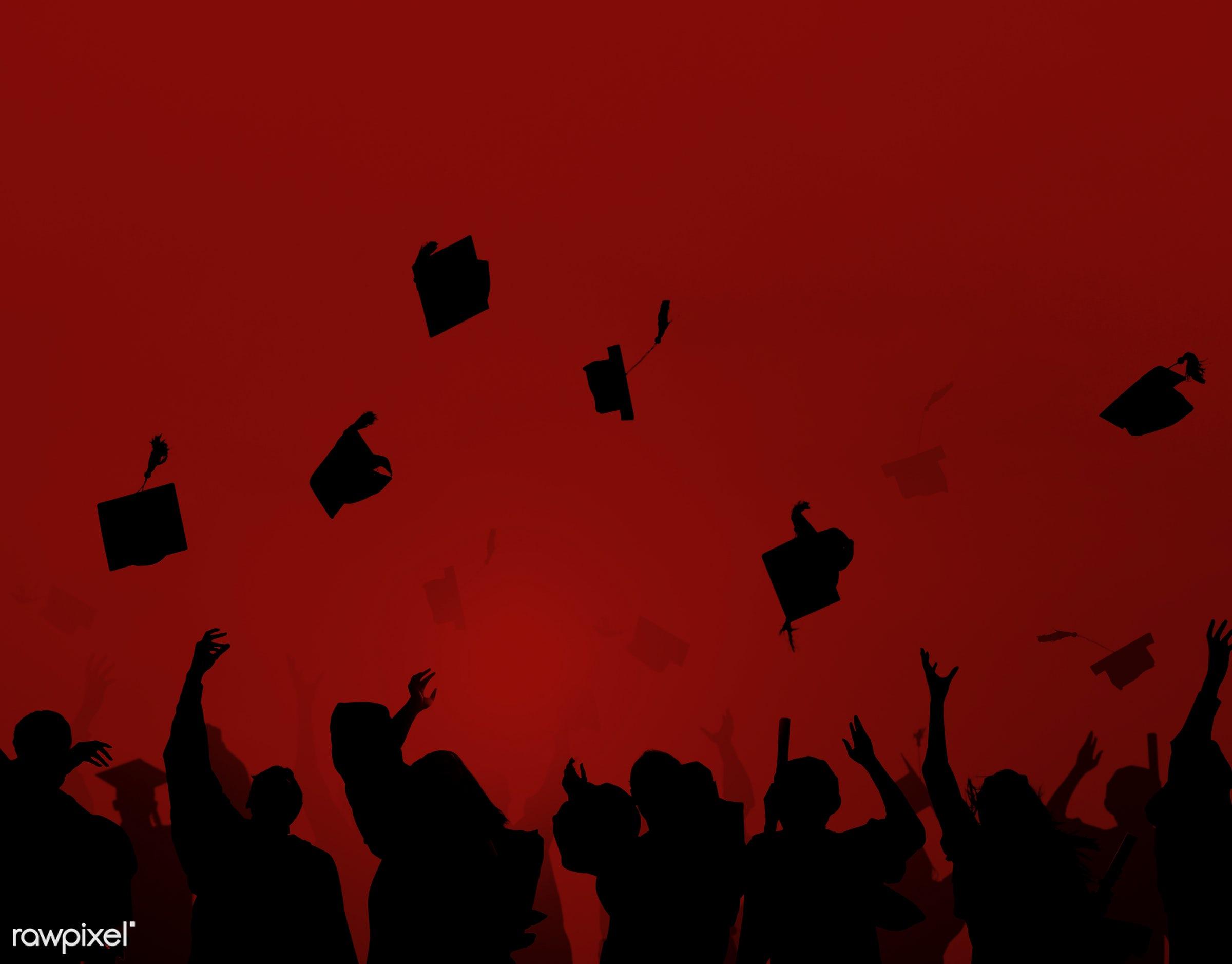 congratulations, hat, academic, alumni, arms raised, back lit, cap, celebration, cheerful, classmates, college, crowd,...