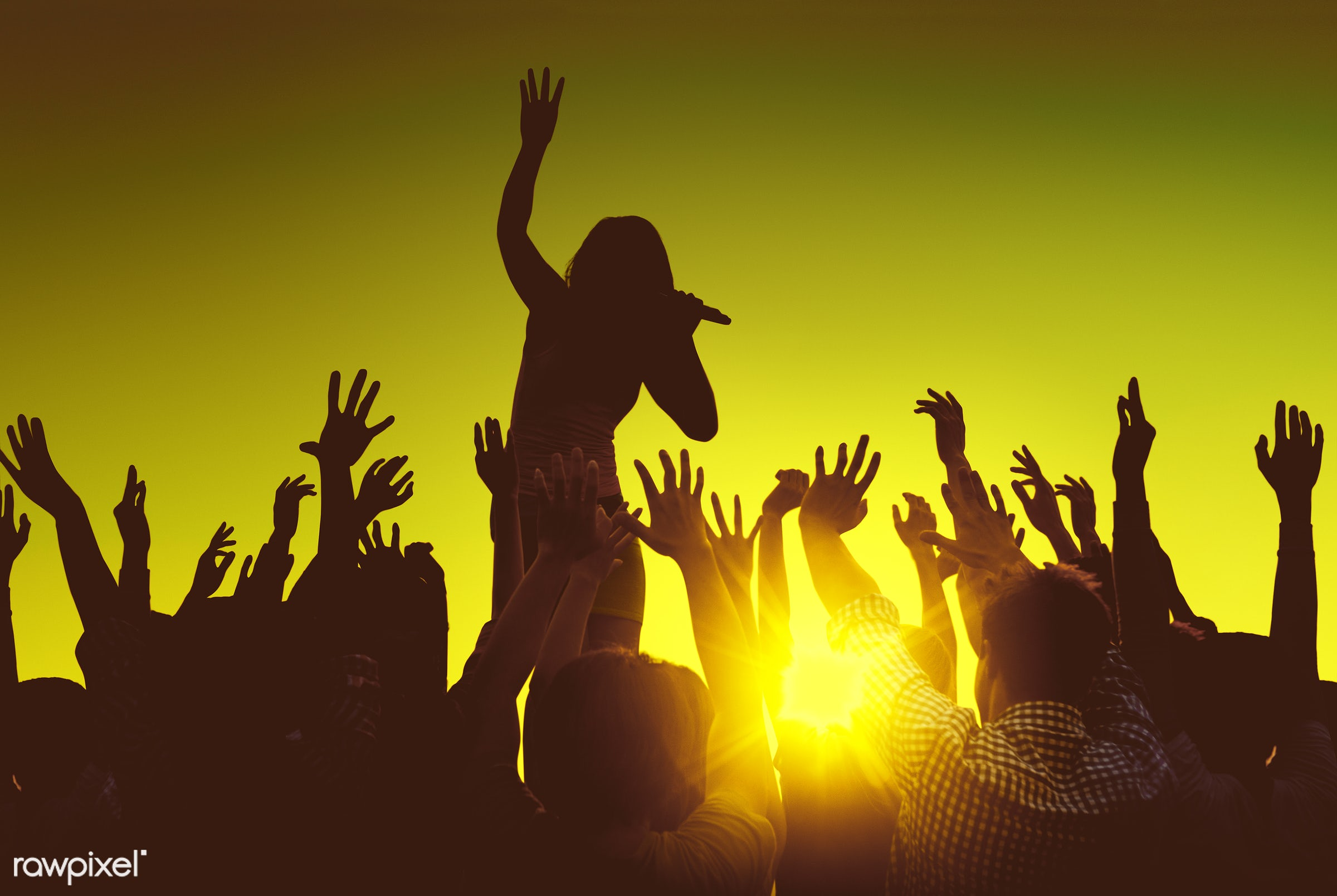 arms raised, artist, audience, back lit, carefree, celebration, cheerful, community, concert, crowd, dancing, ecstatic,...