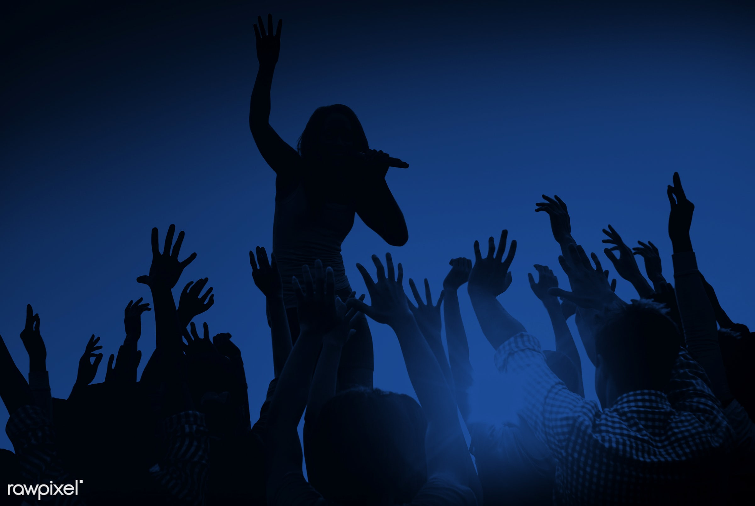 arms raised, artist, audience, back lit, blue, carefree, celebration, cheerful, community, concert, crowd, dancing, ecstatic...