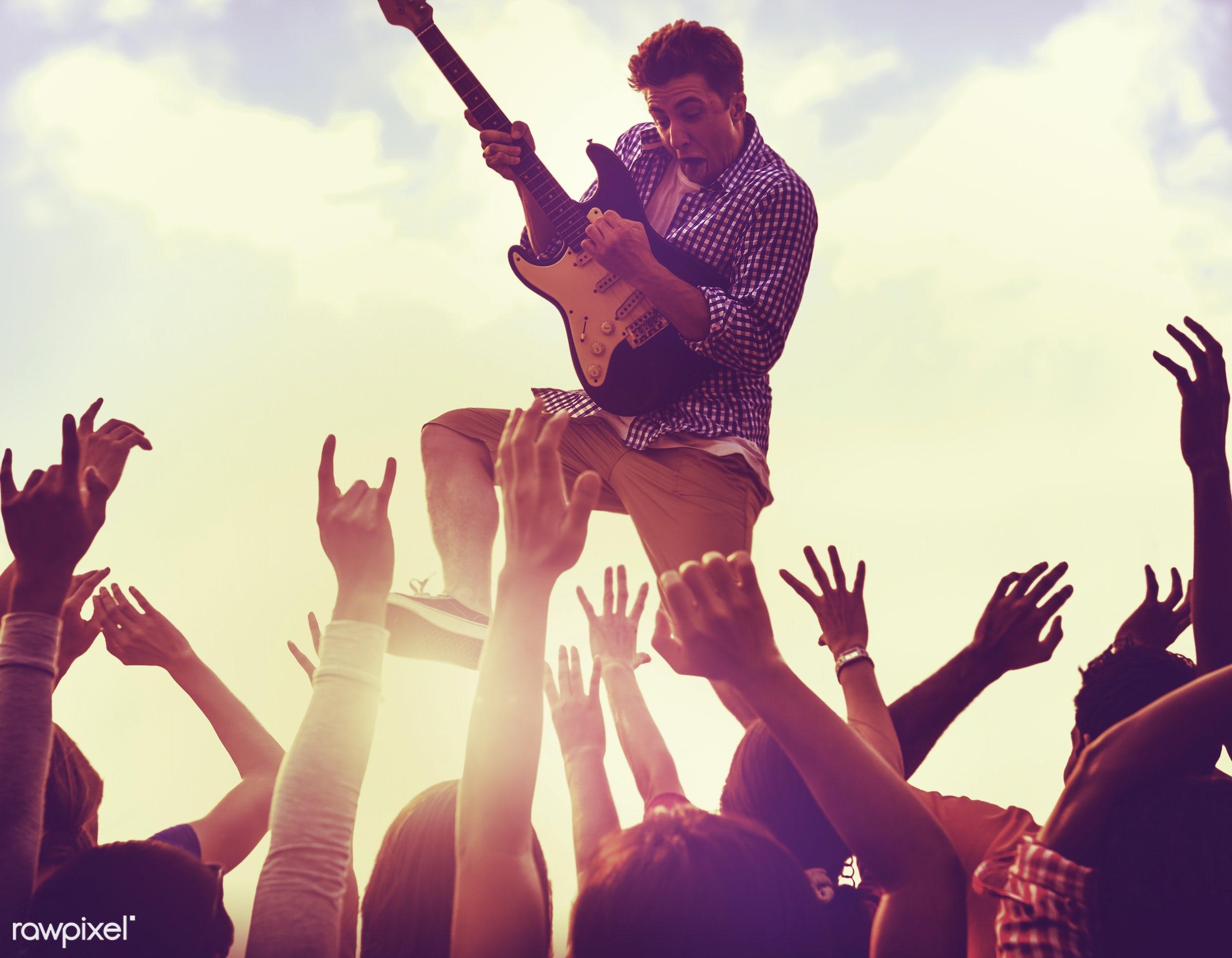 adolescence, audience, carefree, celebration, cheerful, cloud, cloudscape, concert, dancing, ecstatic, enjoyment, excitement...