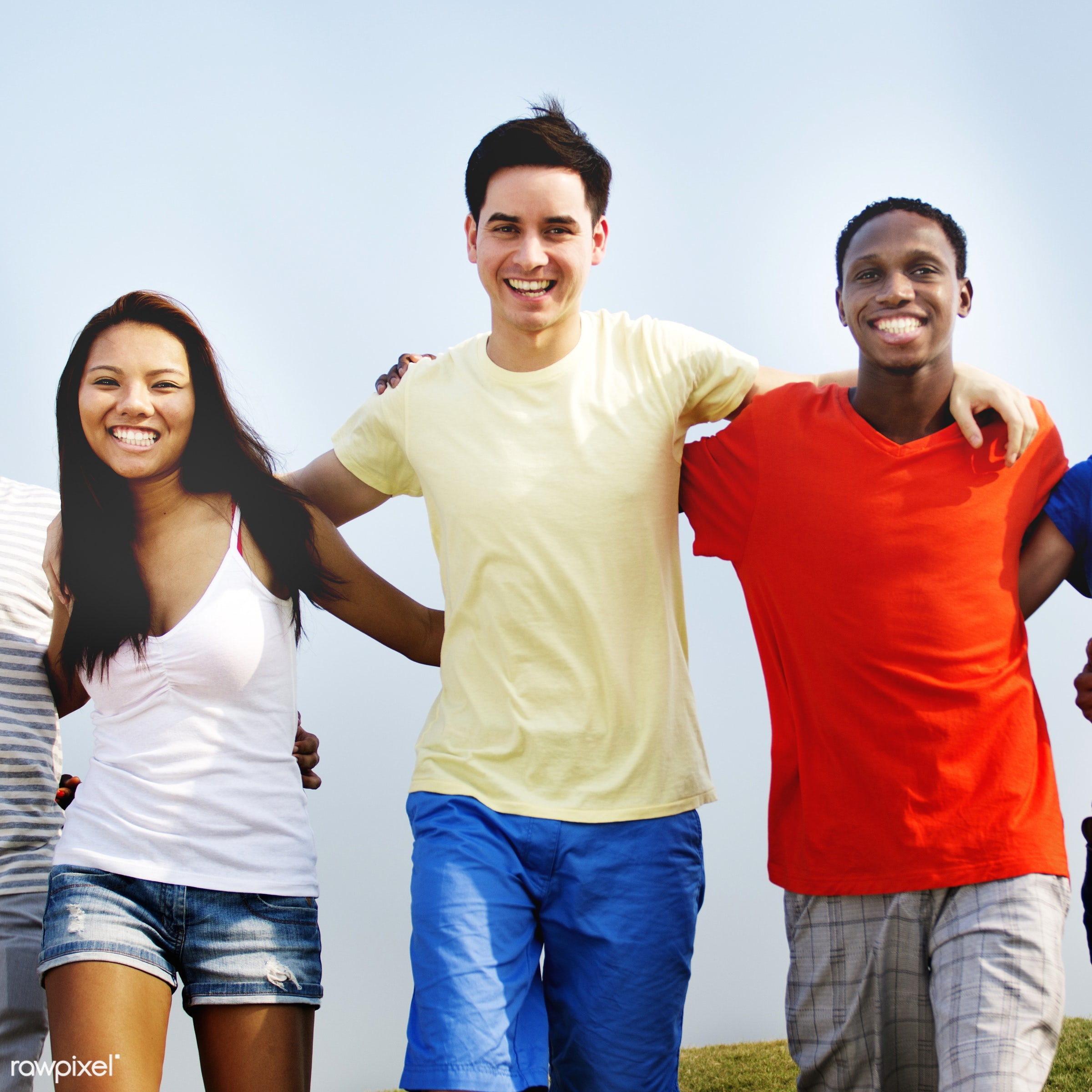 african descent, asian ethnicity, blue sky, casual, celebration, cheerful, colorful, community, concept, day, diverse,...