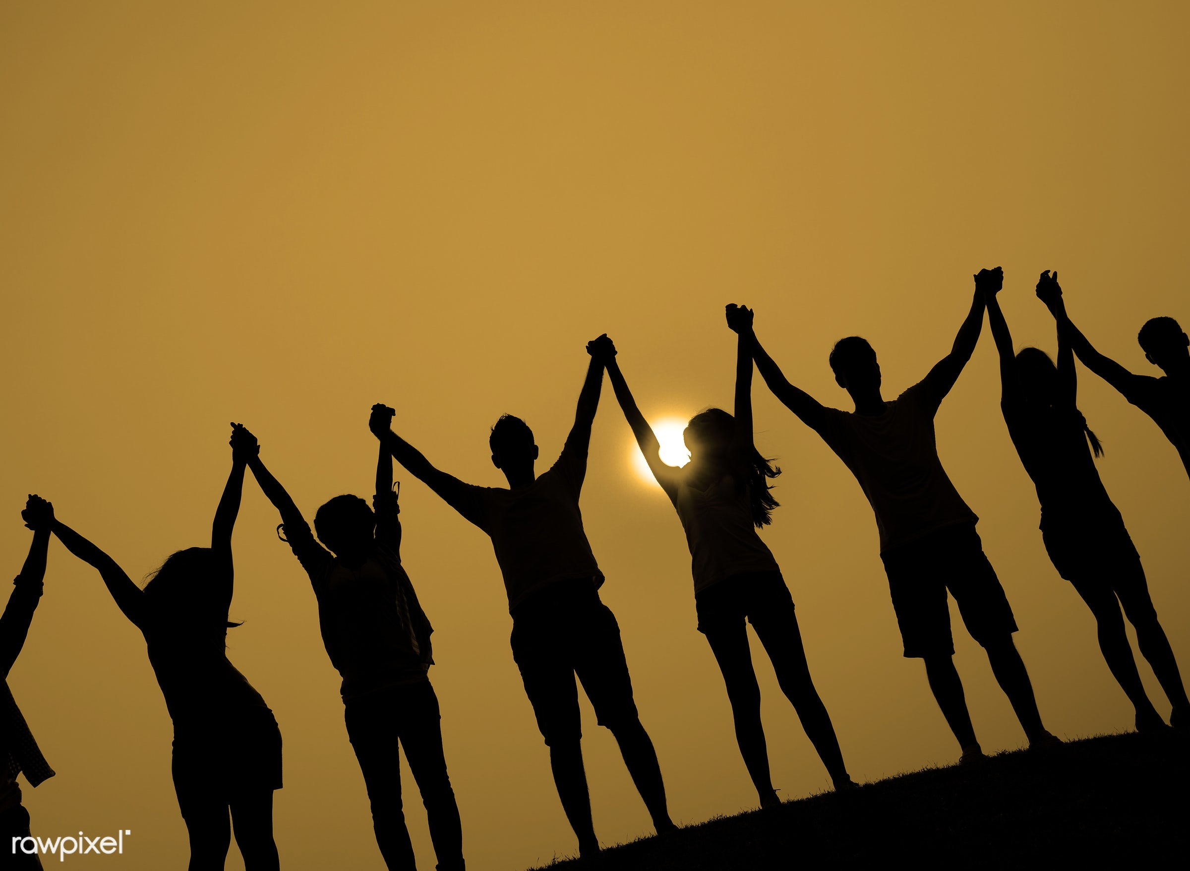 achievement, arms outstretched, arms raised, backlit, casual, celebration, cheerful, color image, community, community,...