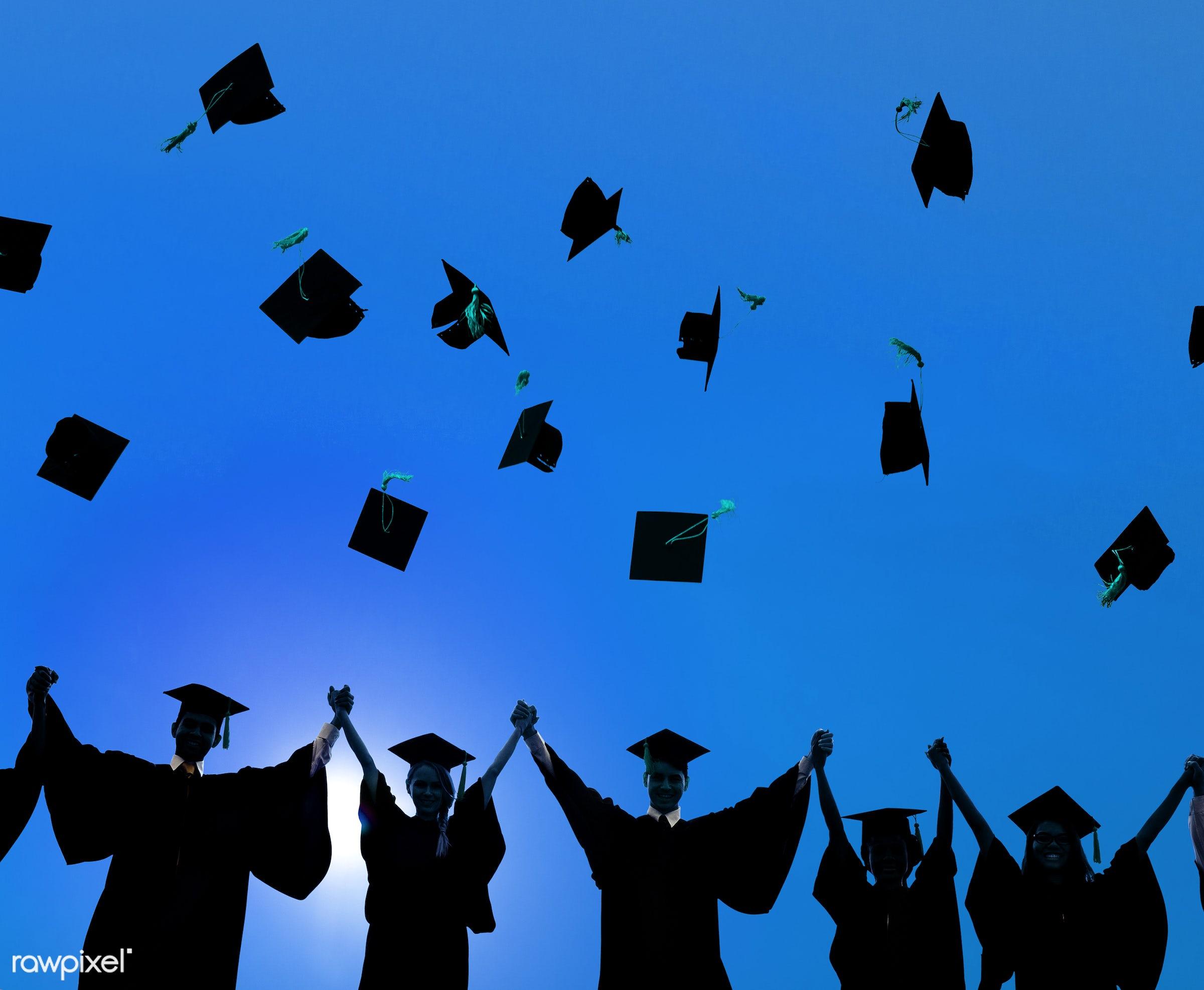 hat, academic, achievement, arms raised, campus, cap, celebration, ceremony, certificate, cheerful, college, college student...
