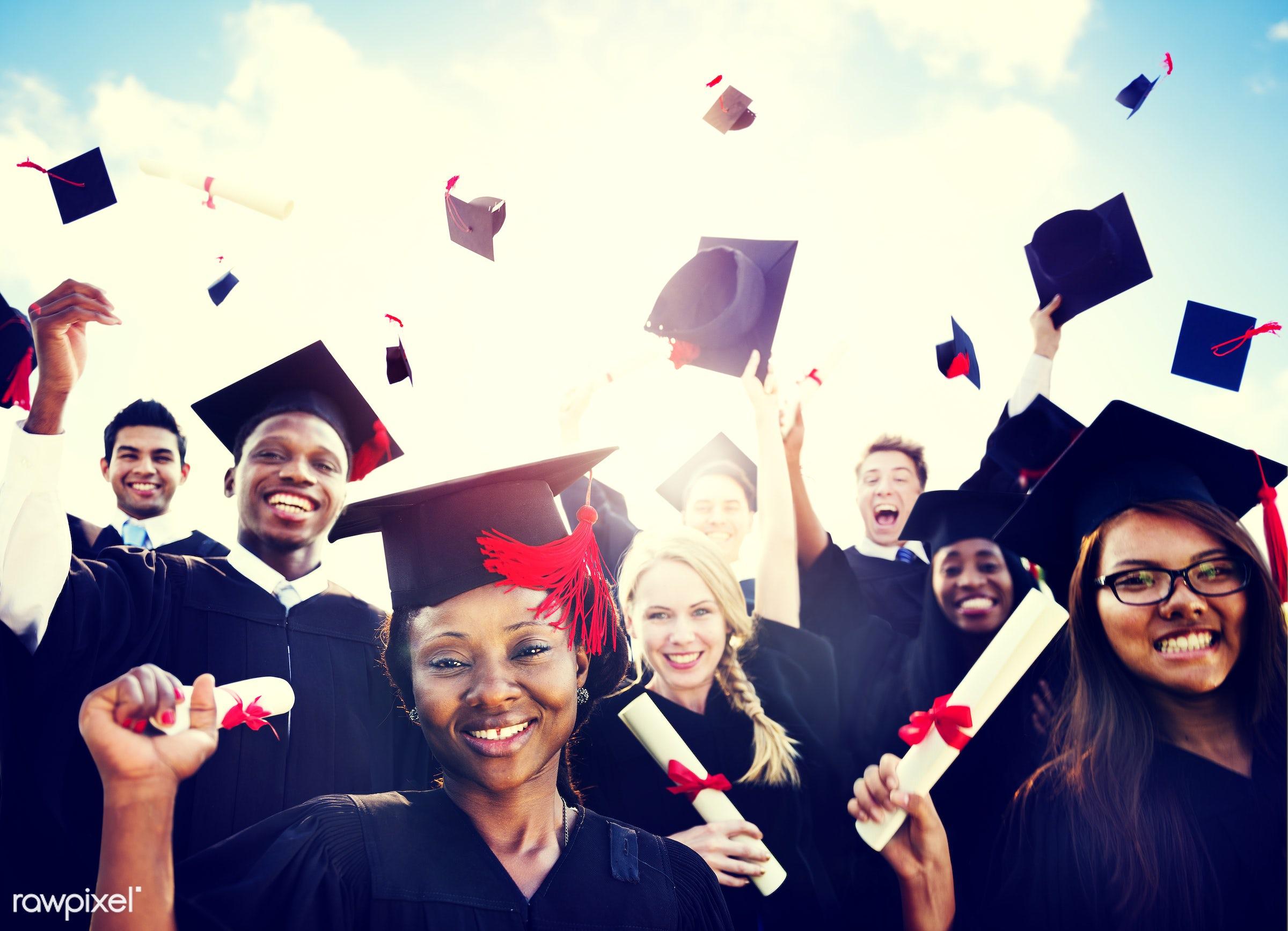 academic, achievement, african descent, african ethnicity, alumni, asian ethnicity, black, campus, cap, celebration,...