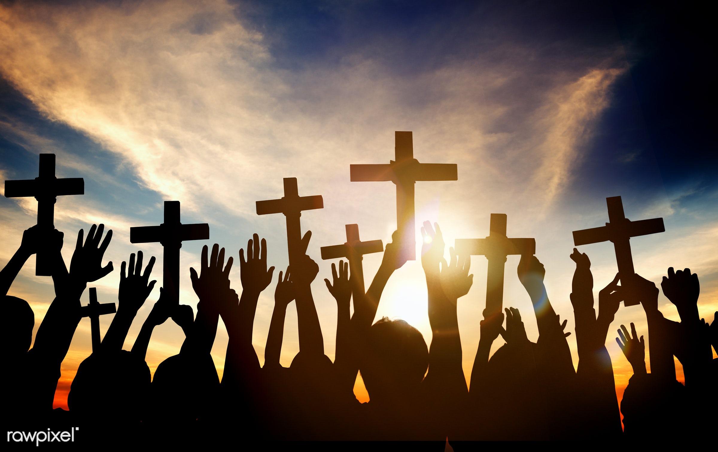 church, applauding, arms outstretched, arms raised, aspiration, back lit, believe, christian, christianity, cloud,...