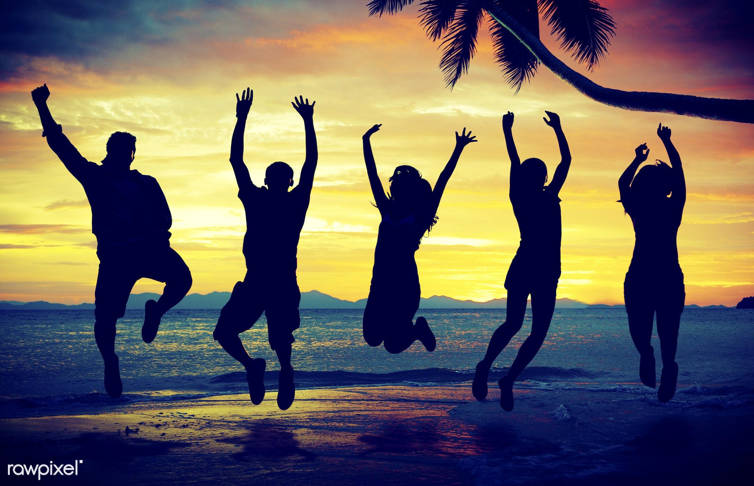 dusk, adult, back lit, beach, beach party, celebration, cheerful, cloudscape, community, ecstatic, enjoyment, freedom,...