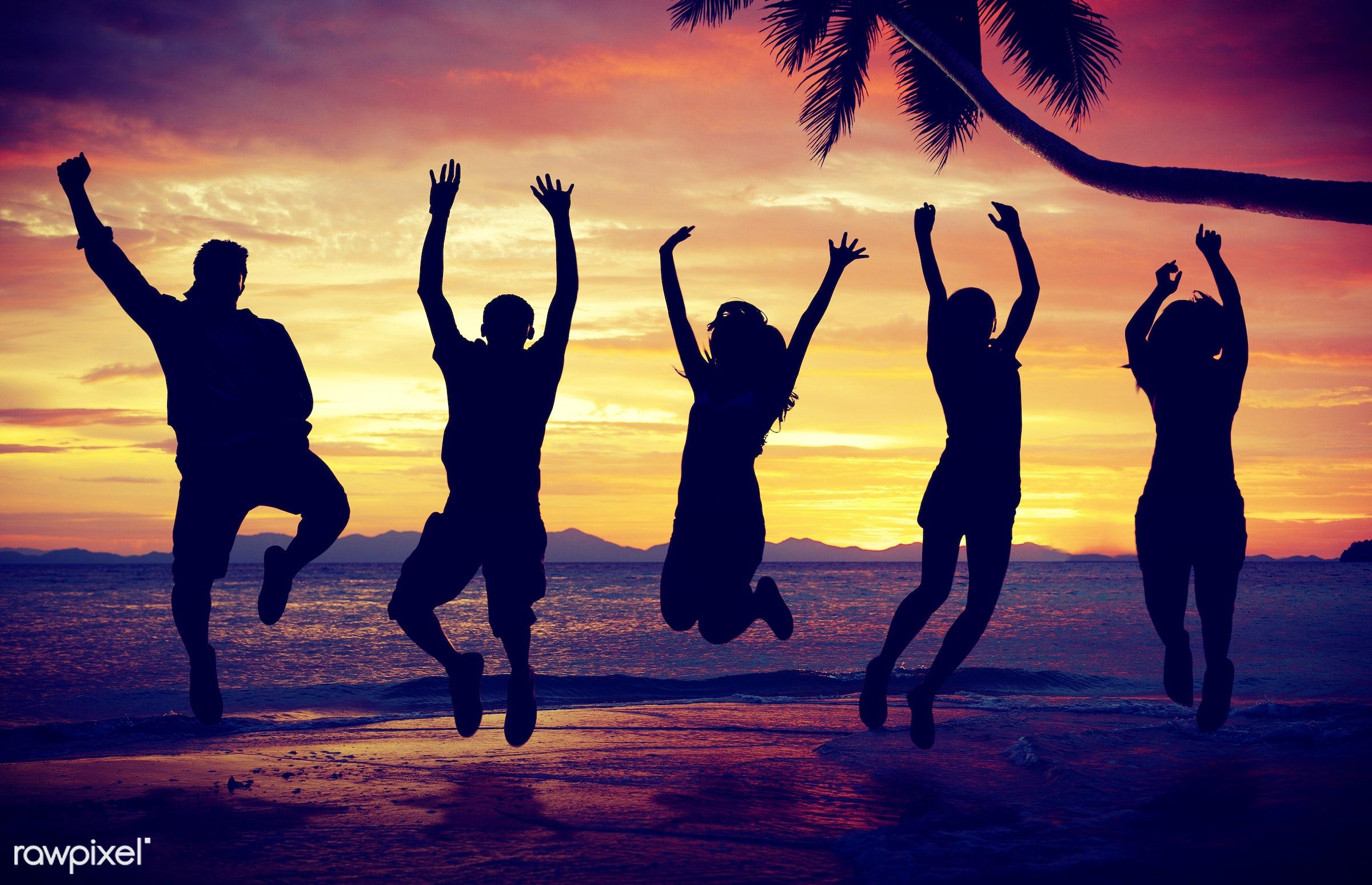 adult, back lit, beach, beach party, celebration, cheerful, cloudscape, community, dusk, ecstatic, enjoyment, freedom,...