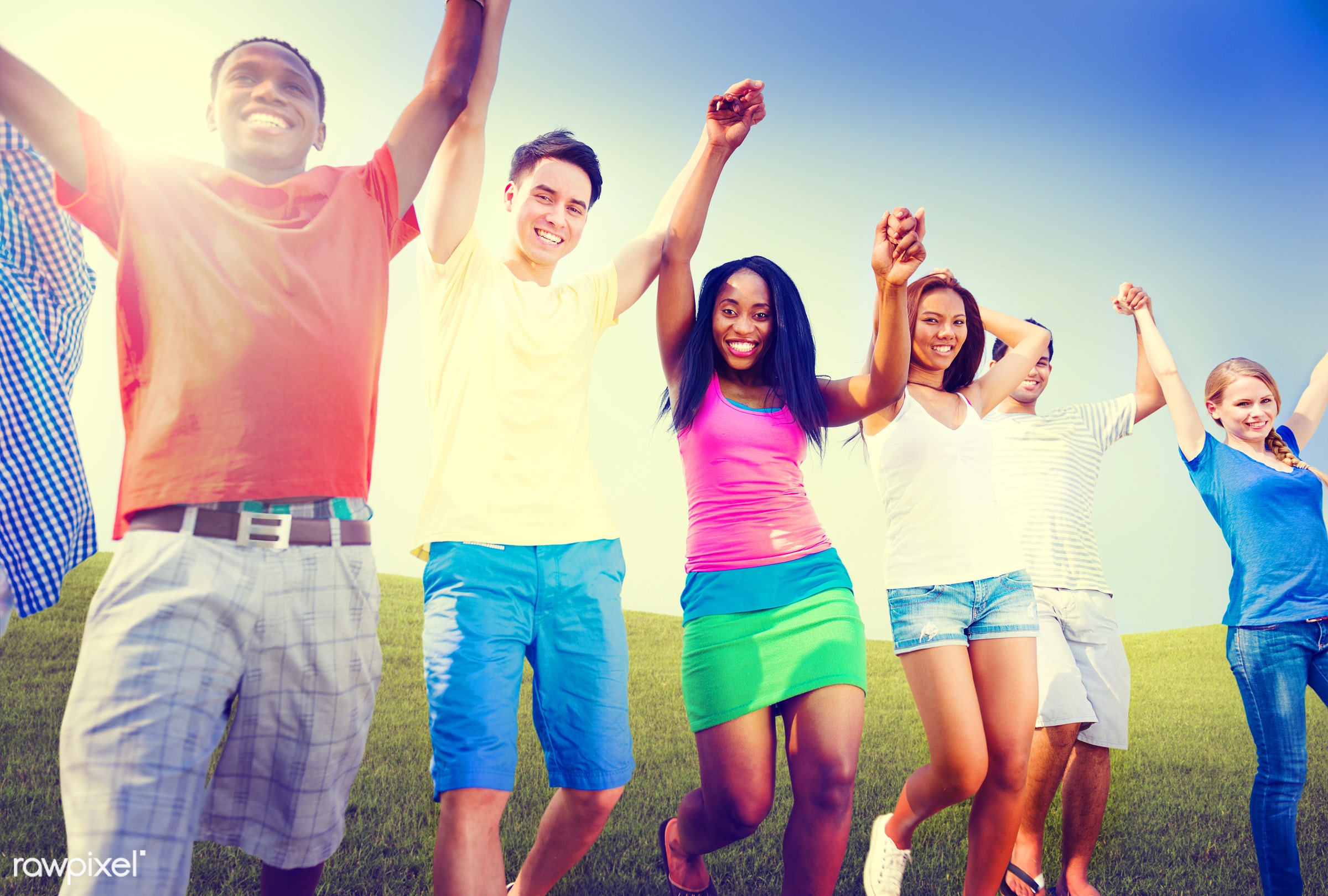 achieve, achievement, arms, arms raised, celebration, cheerful, communication, community, concepts, connection, field,...