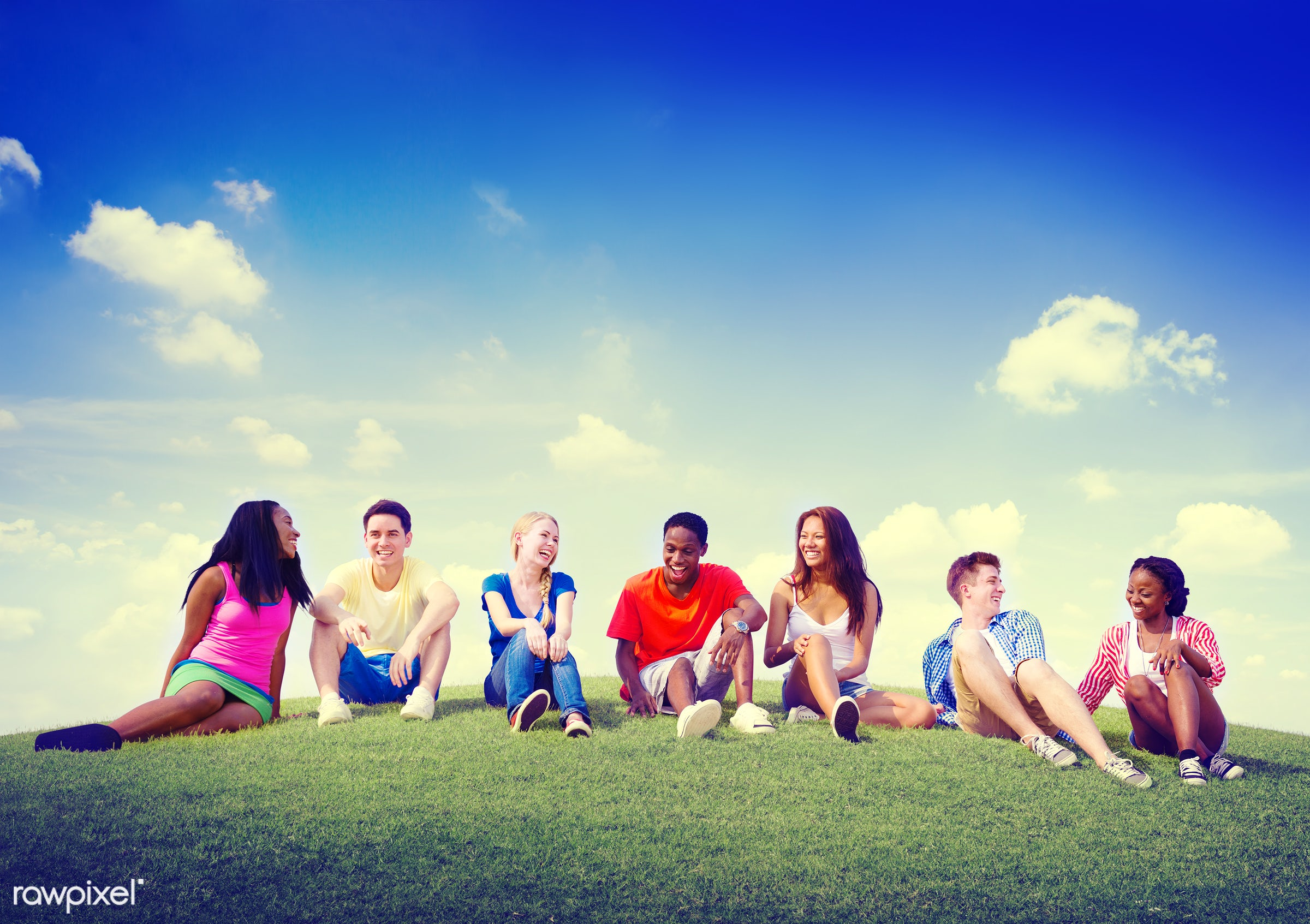 african descent, asian ethnicity, blue sky, casual, cheerful, colorful, community, concept, cooperation, day, diverse,...