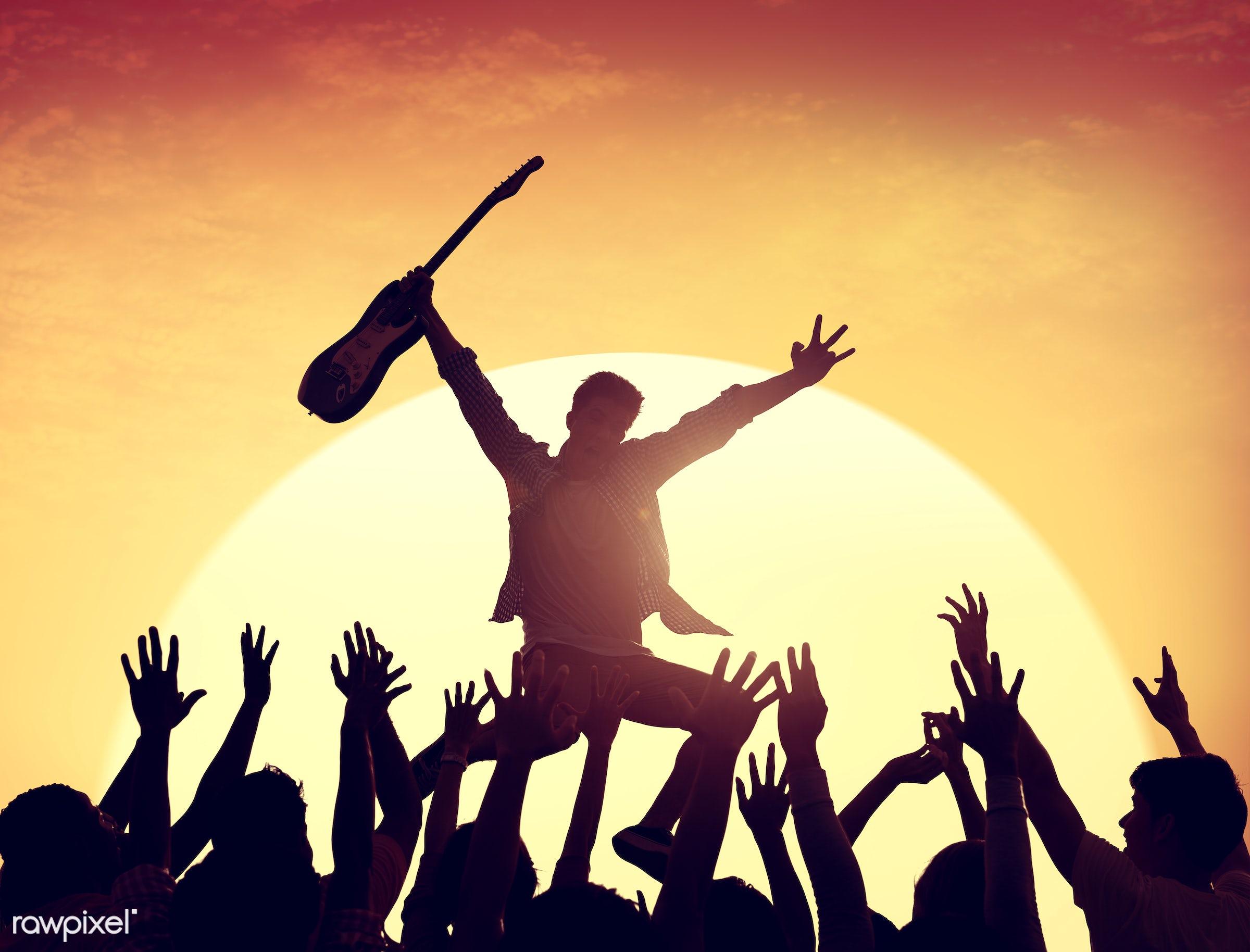 festive, adolescence, arms raised, audience, back lit, carefree, celebration, cheerful, communication, community, concert,...