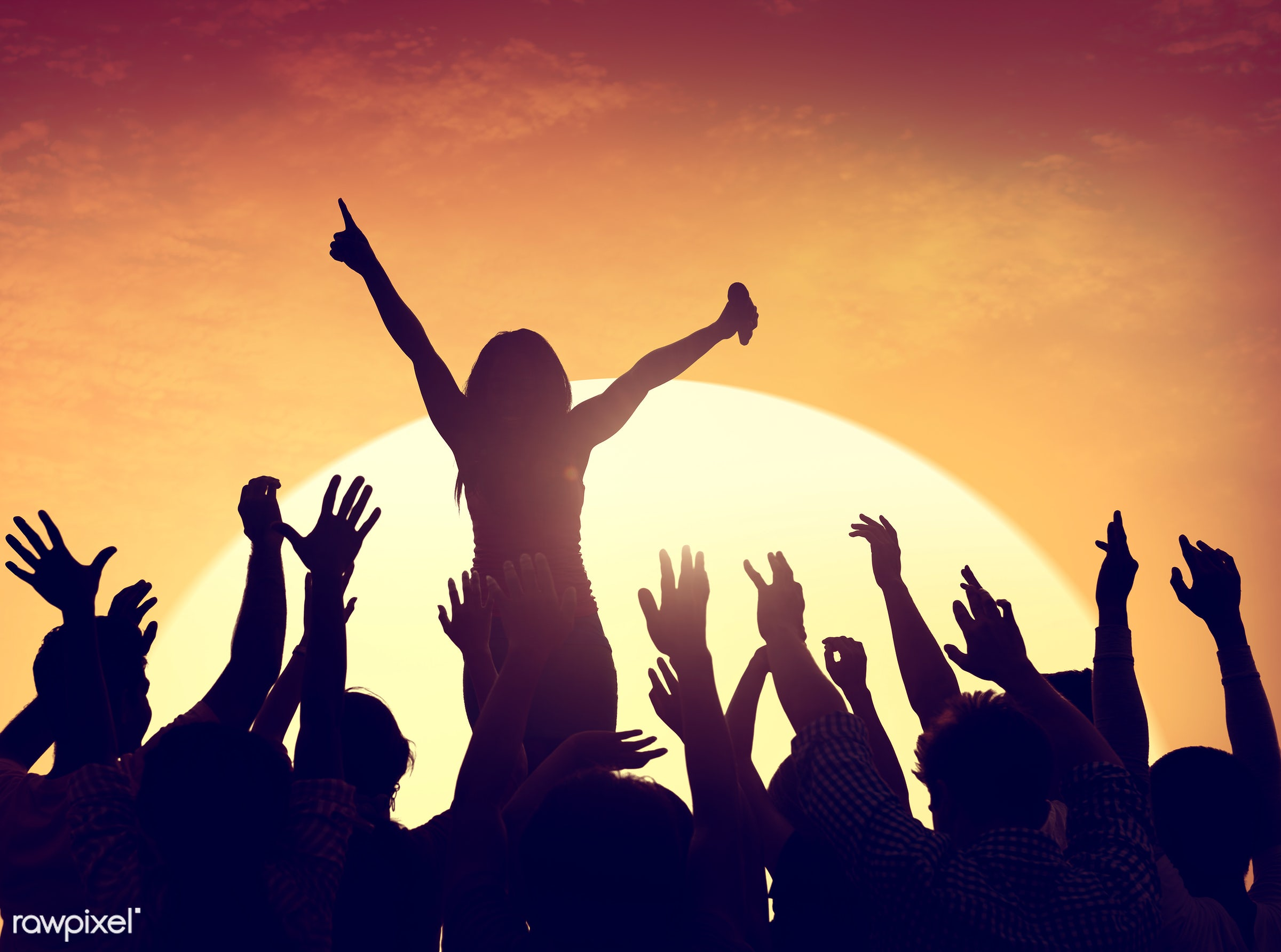 adolescence, arms raised, audience, back lit, carefree, celebration, cheerful, communication, community, concert, dancing,...