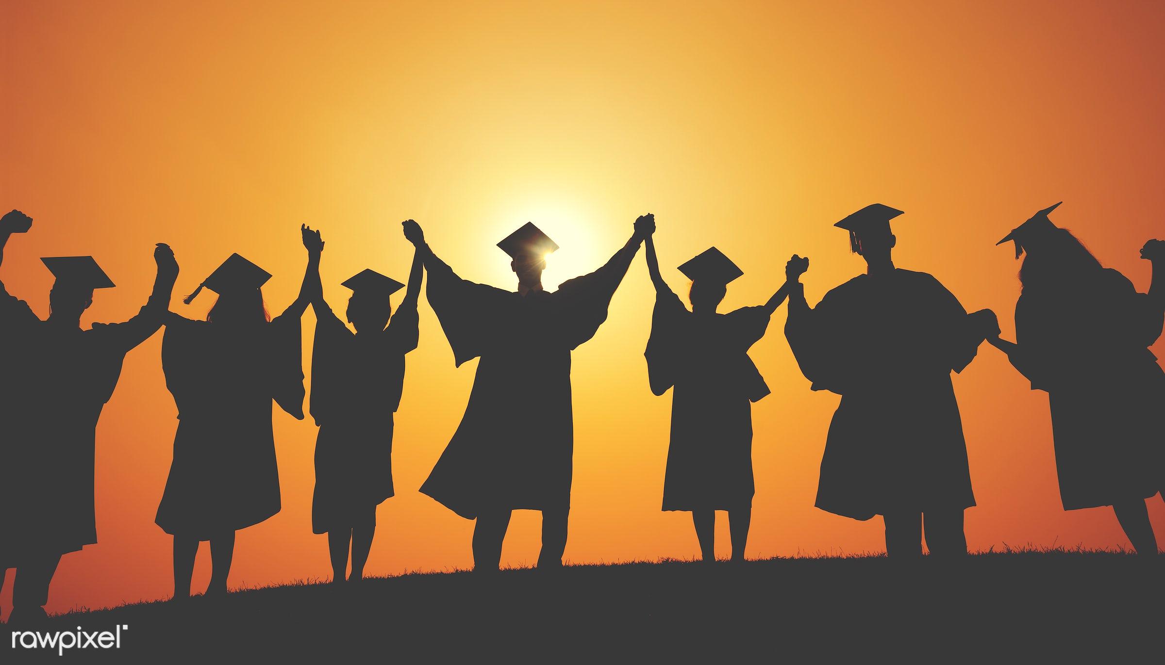 holding, academic, back lit, celebration, college, education, field, finished, gown, graduate, graduation, graduation cap,...