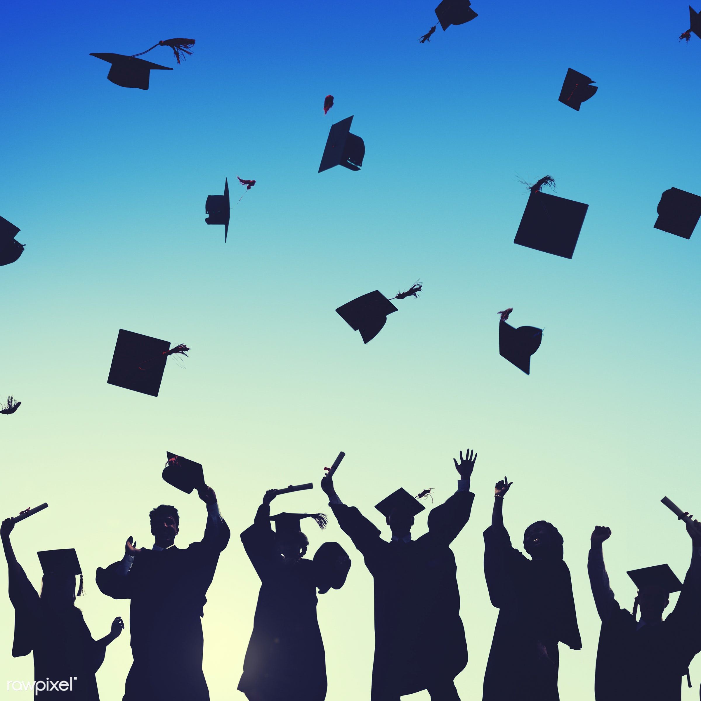 academic, air, arms raised, back lit, cap, celebration, college, congratulations, diploma, education, excitement, finished,...
