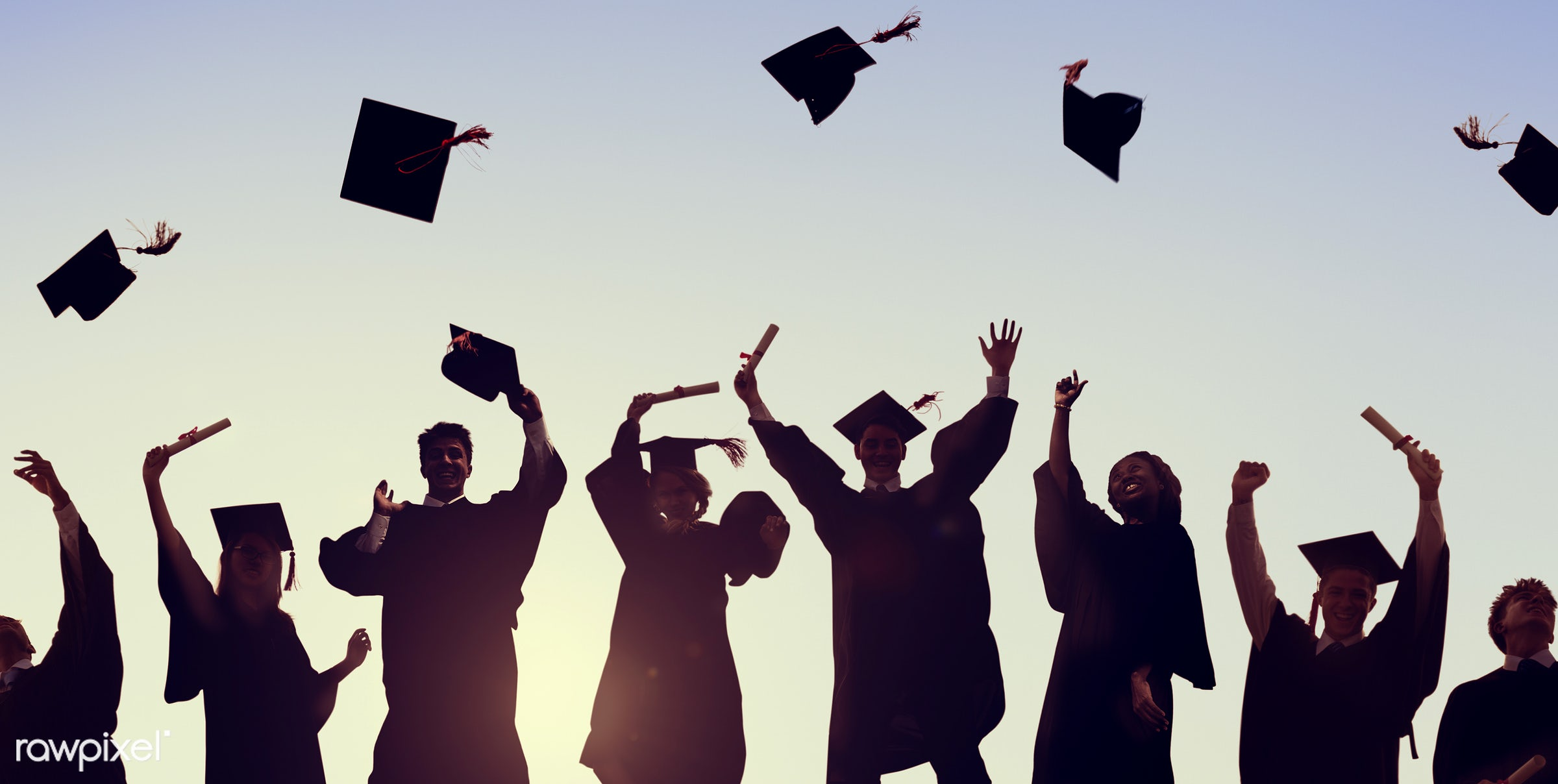 congratulations, hat, academic, air, arms raised, back lit, cap, celebration, college, diploma, education, excitement,...
