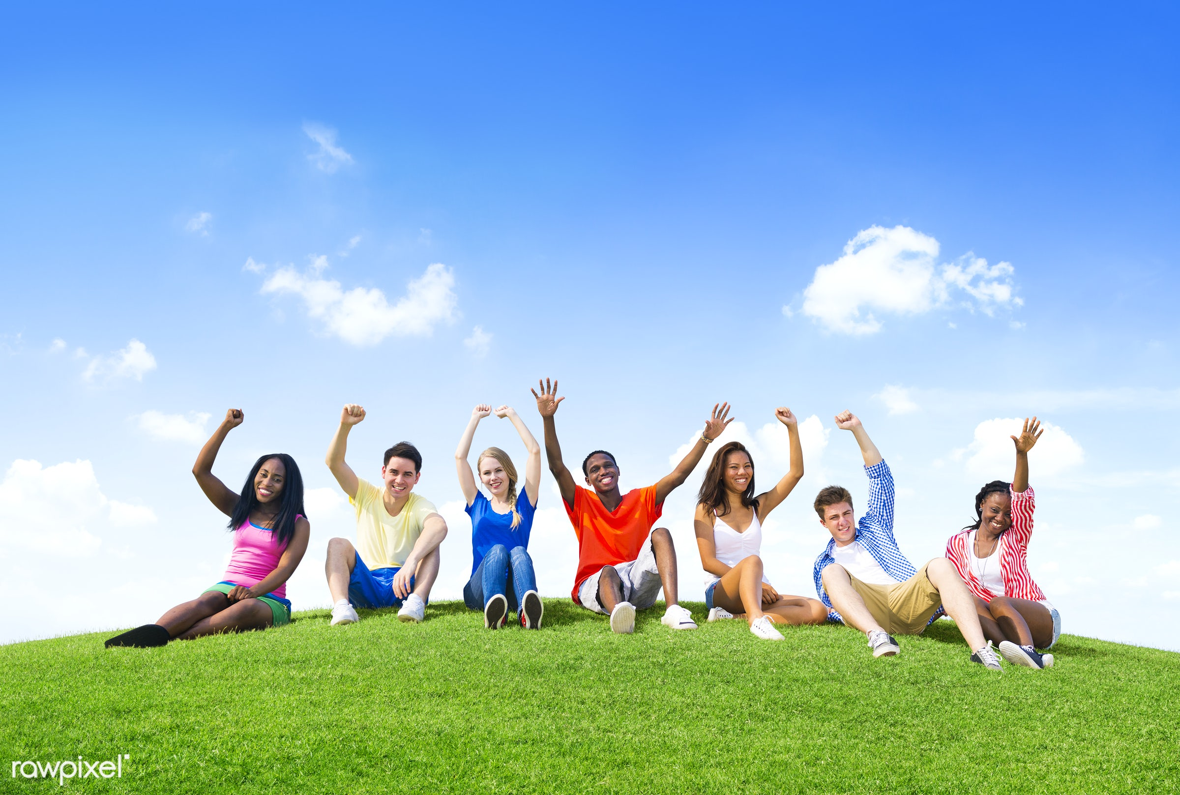 african, casual, celebration, cheerful, clouds, ethnic, excitement, freedom, freshness, friendship, fun, grass, green, group...