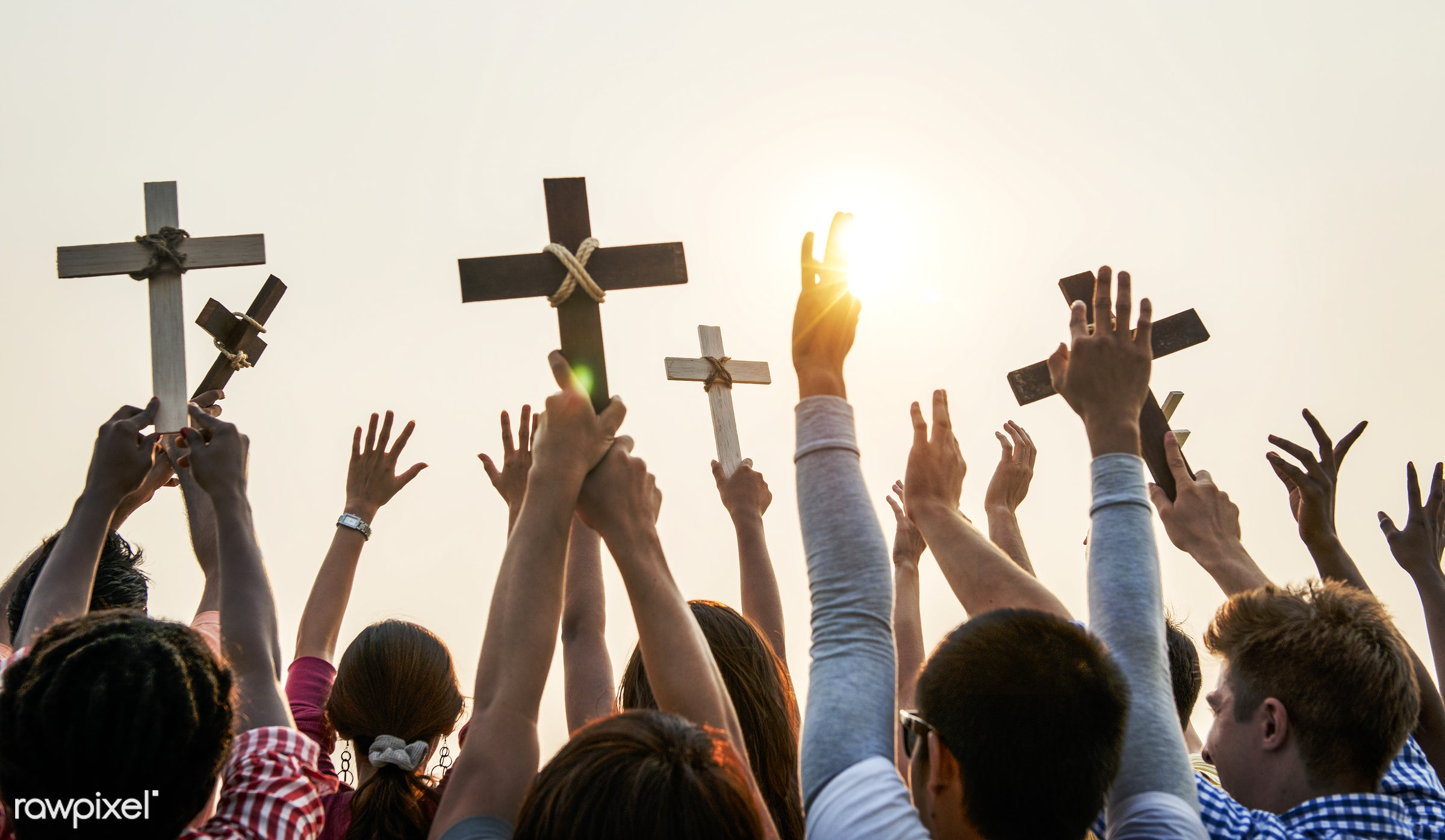 arms raised, back lit, belief, carefree, catholic, celebration, cheerful, christian, community, cross, crowd, culture,...