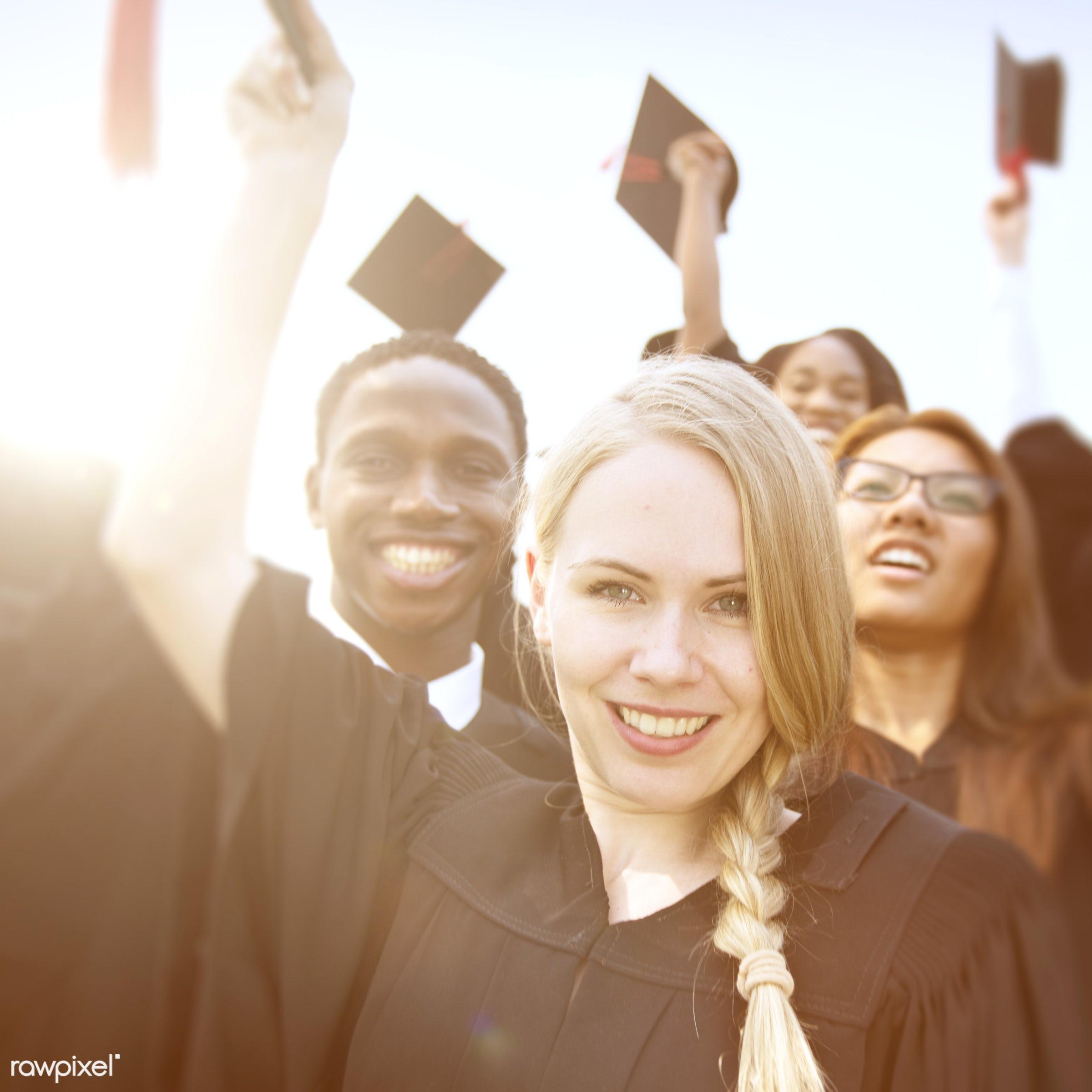 achievement, college student, diverse, academic, campus, cap, celebration, ceremony, certificate, cheerful, college,...