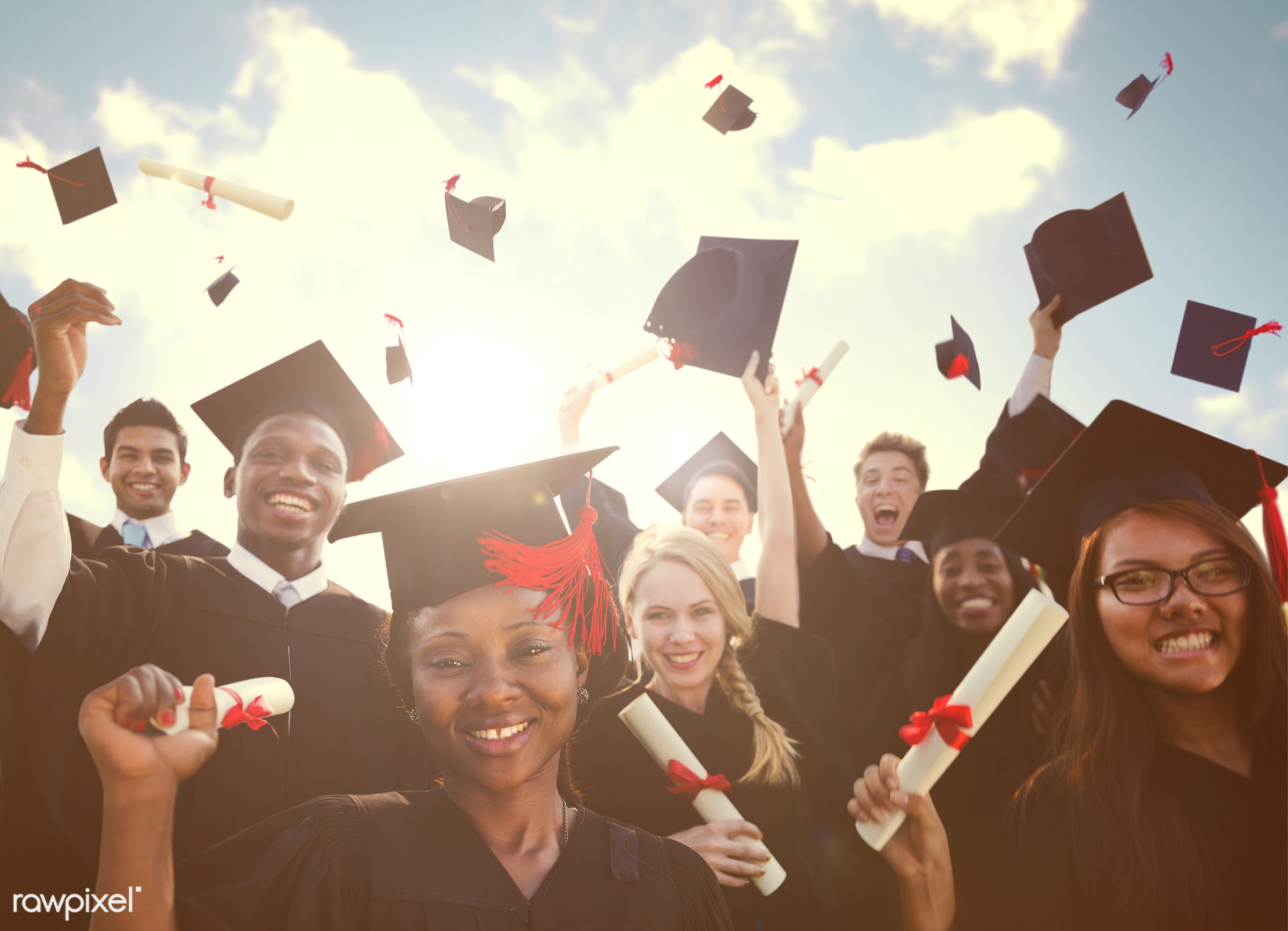 Group of diverse graduating students - academic, achievement, african descent, african ethnicity, afro american, alumni,...