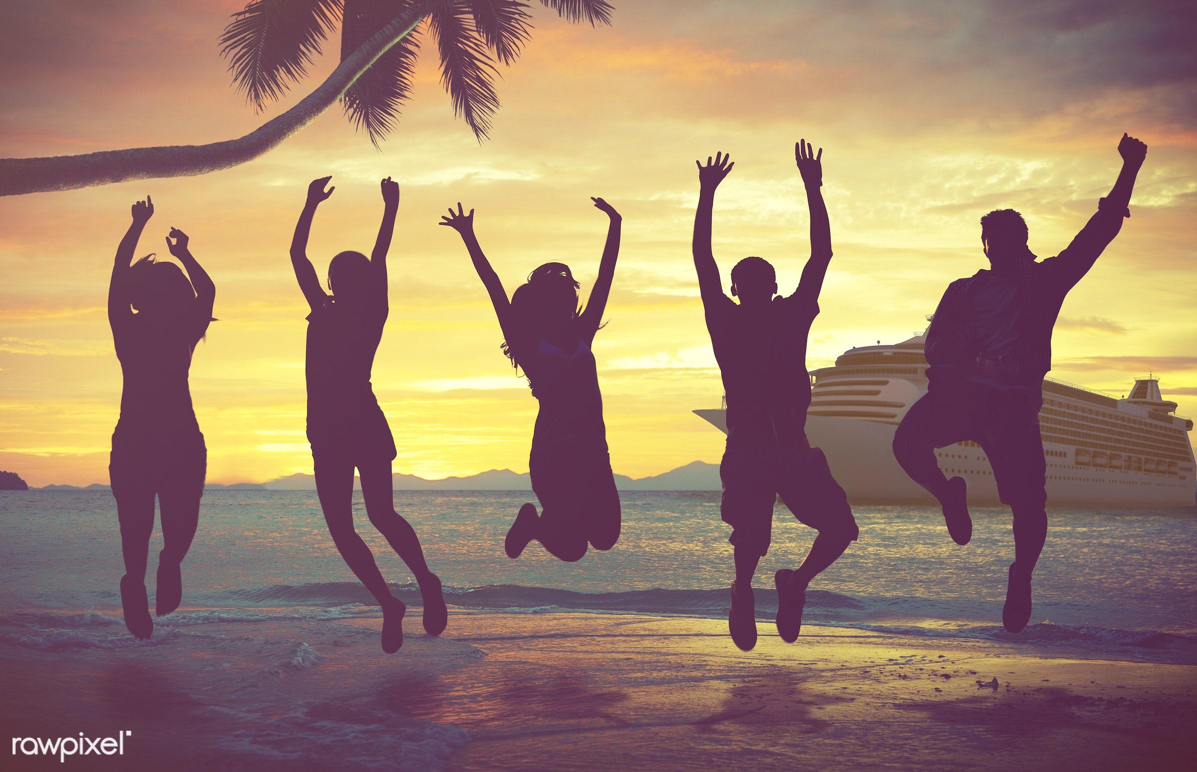 3d, beach, caribbean, cloud, cloudscape, coconut palm tree, cruise, cruise ship, destination, dock, freshness, friends,...