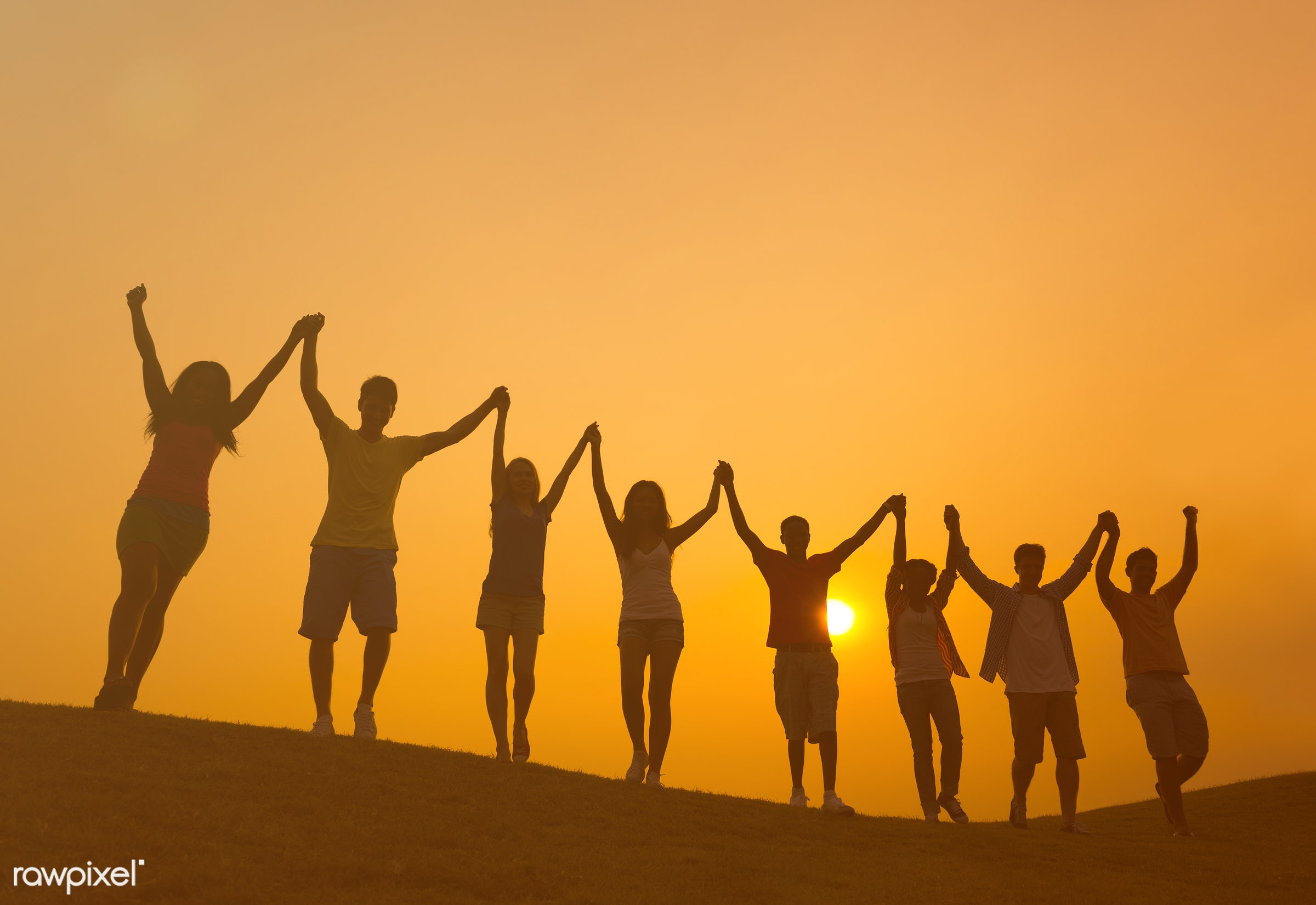 achievement, arms outstretched, arms raised, blue, casual, celebration, cheerful, color image, community, confidence,...