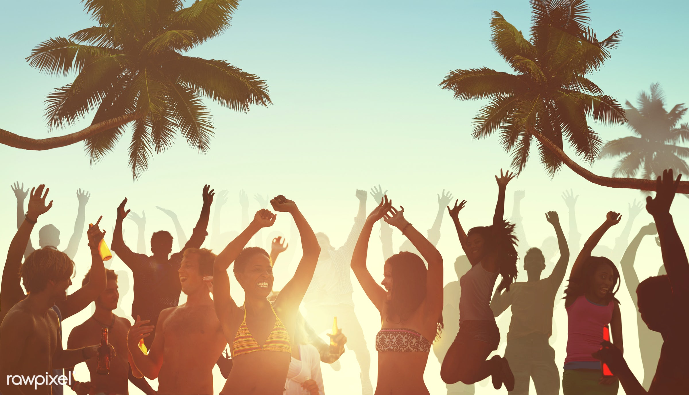 activity, adult, alcohol, arms outstretched, arms raised, back lit, beach, beer, bikini, celebration, cheerful, cheering,...