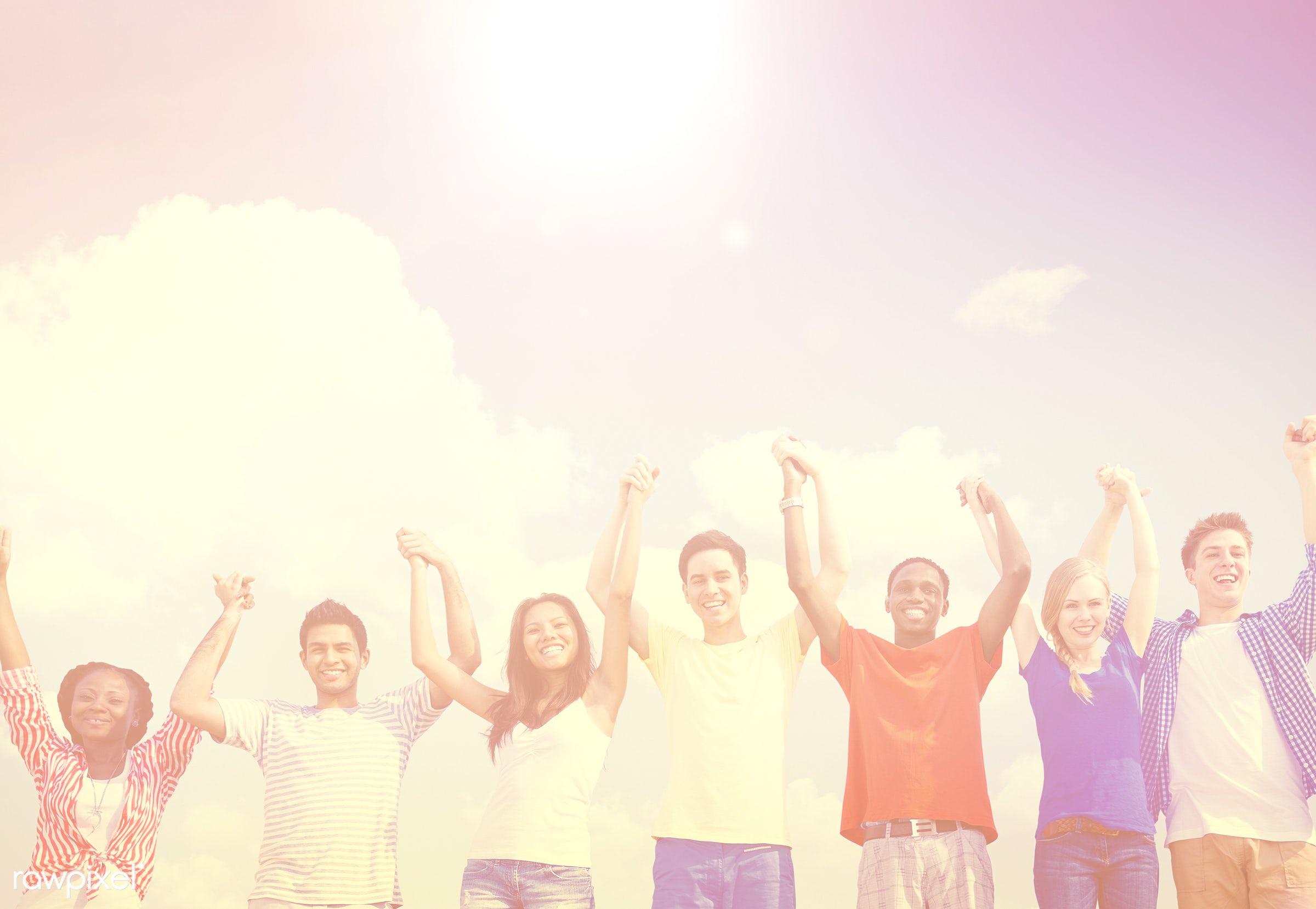 achievement, arms, arms raised, celebration, cheerful, communication, community, concepts, connection, diverse, diversity,...