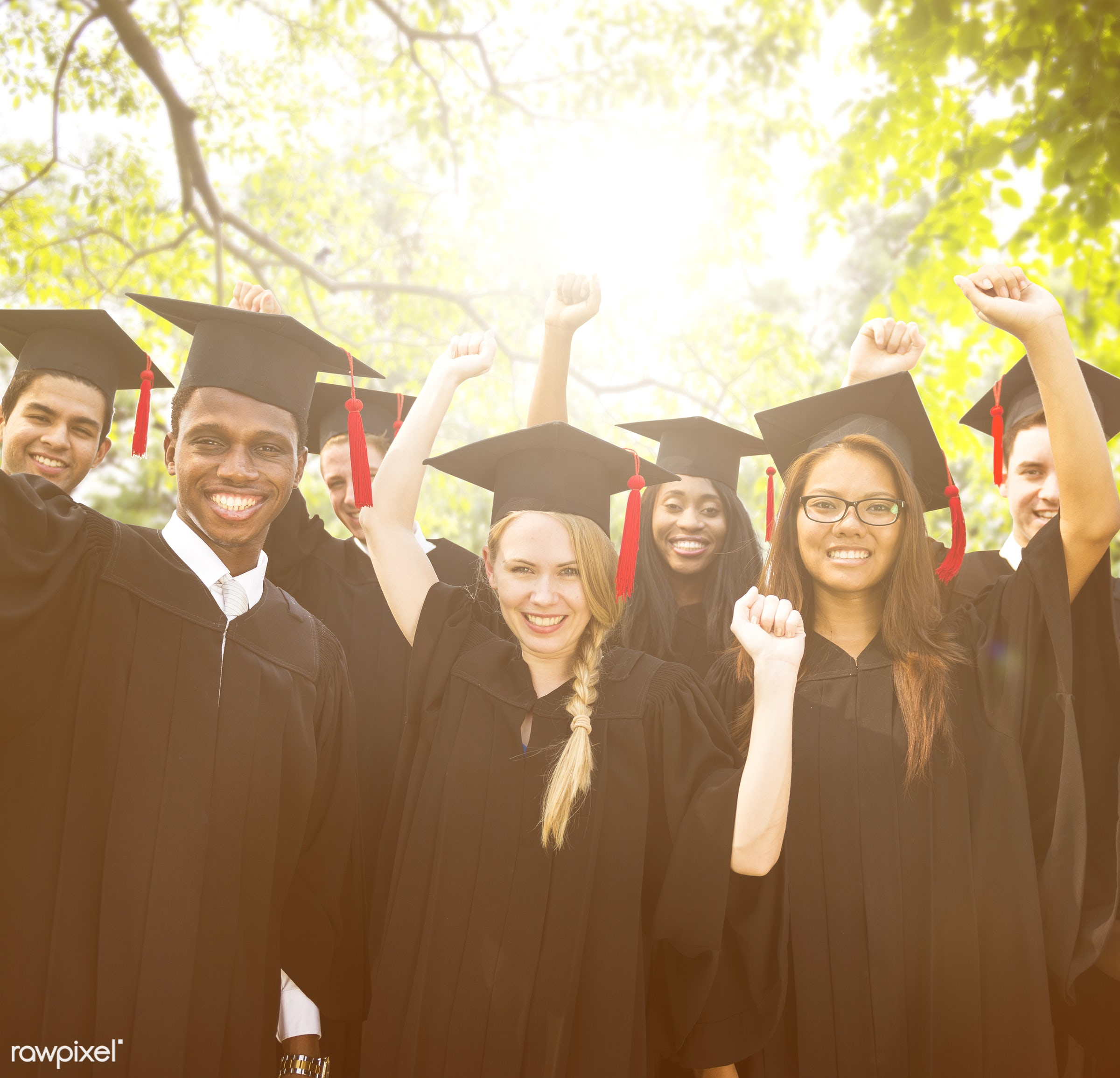academic, achievement, african descent, asian ethnicity, campus, celebration, ceremony, cheerful, college, commencement,...