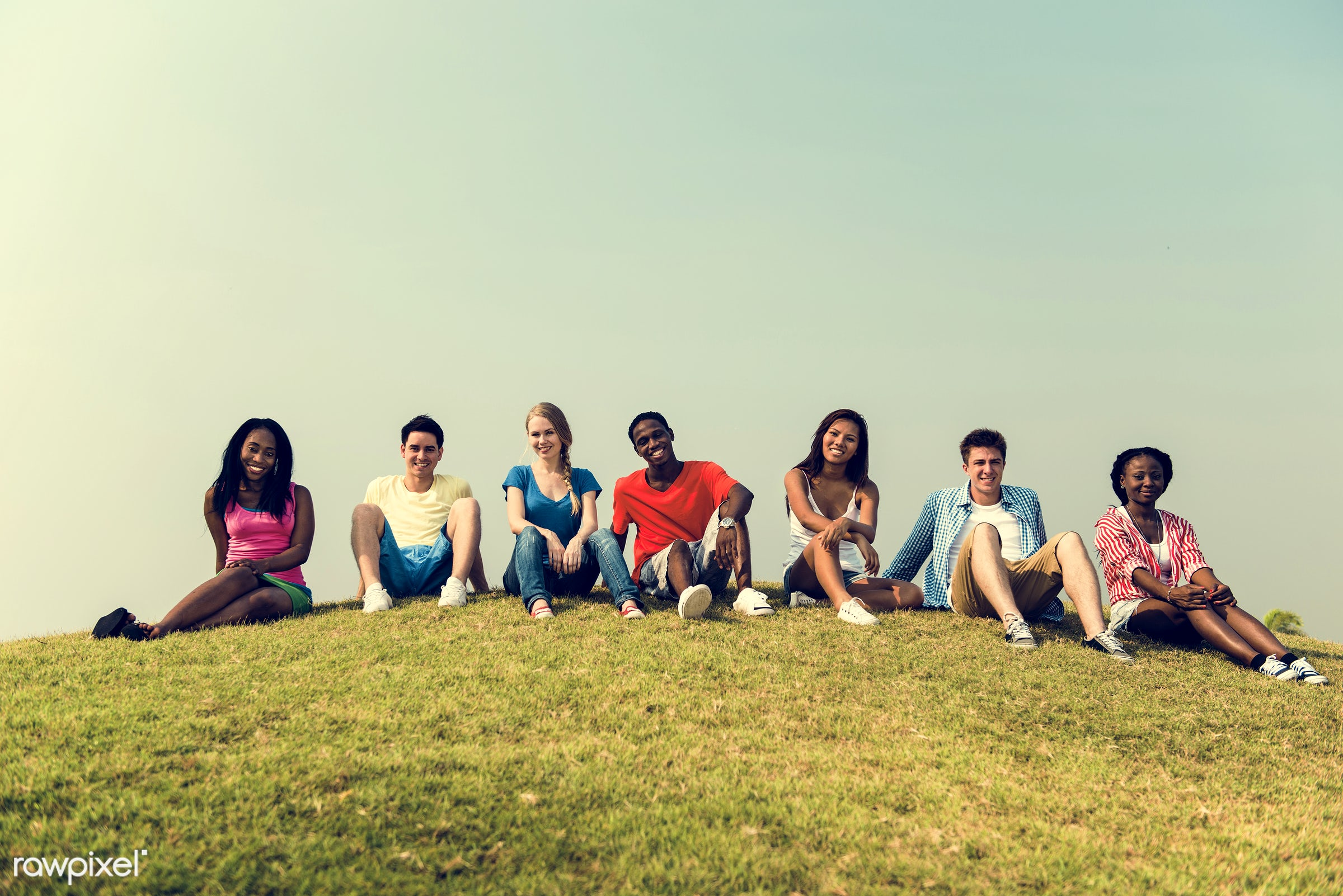 african descent, asian ethnicity, blue sky, casual, celebration, cheerful, community, day, diverse, diversity, enjoy,...