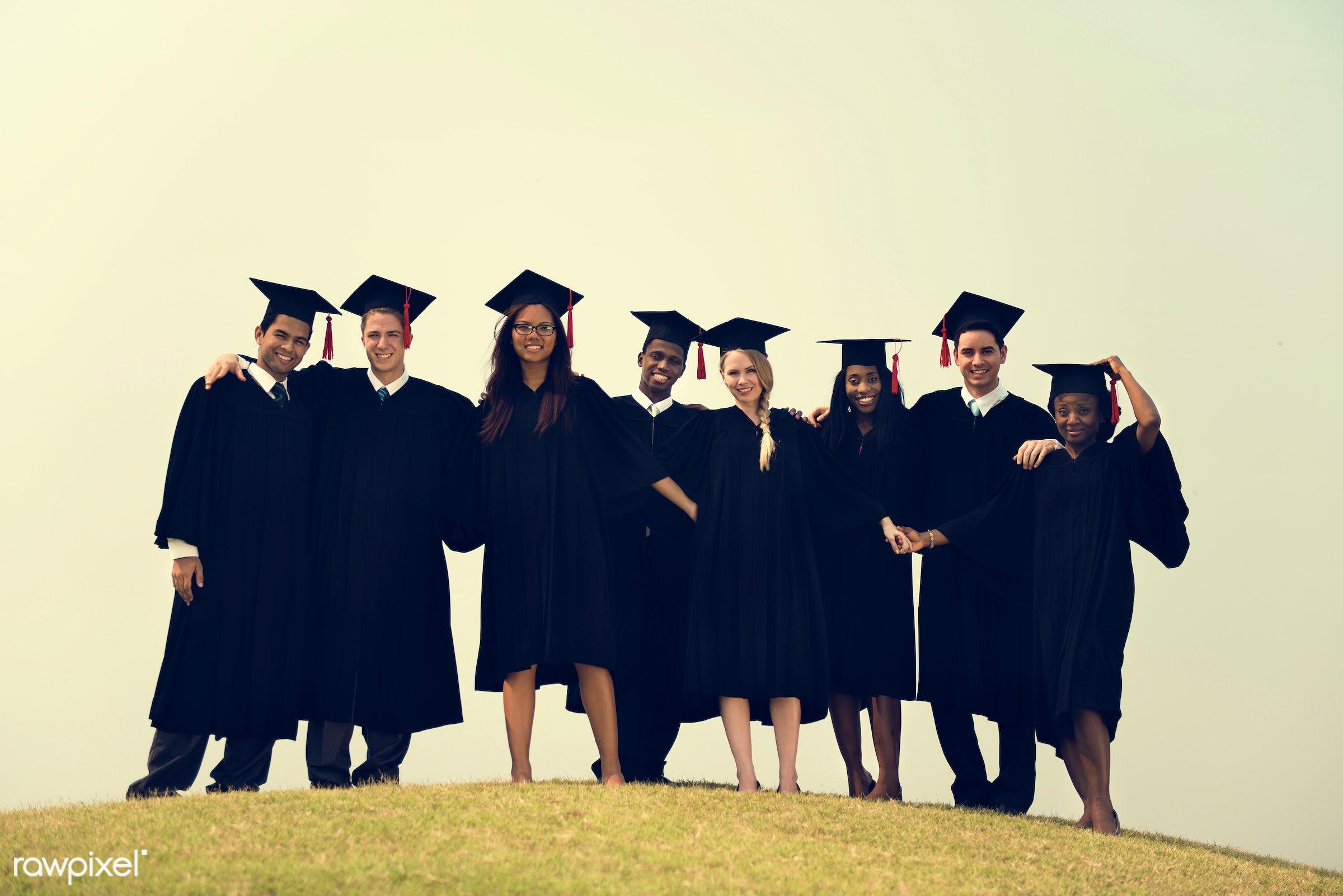 graduate, achievement, african, alumni, asian, best friends, caucasian, celebrate, celebration, cheerful, classmates,...