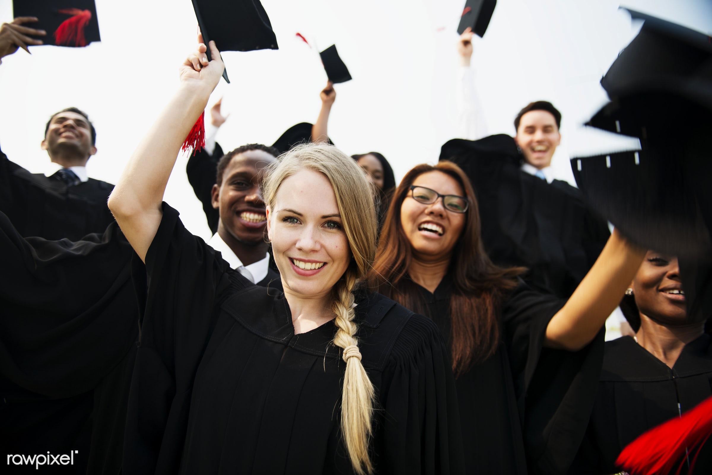 Group of diverse graduating students - achievement, african, alumni, asian, best friends, caucasian, celebrate, celebration...