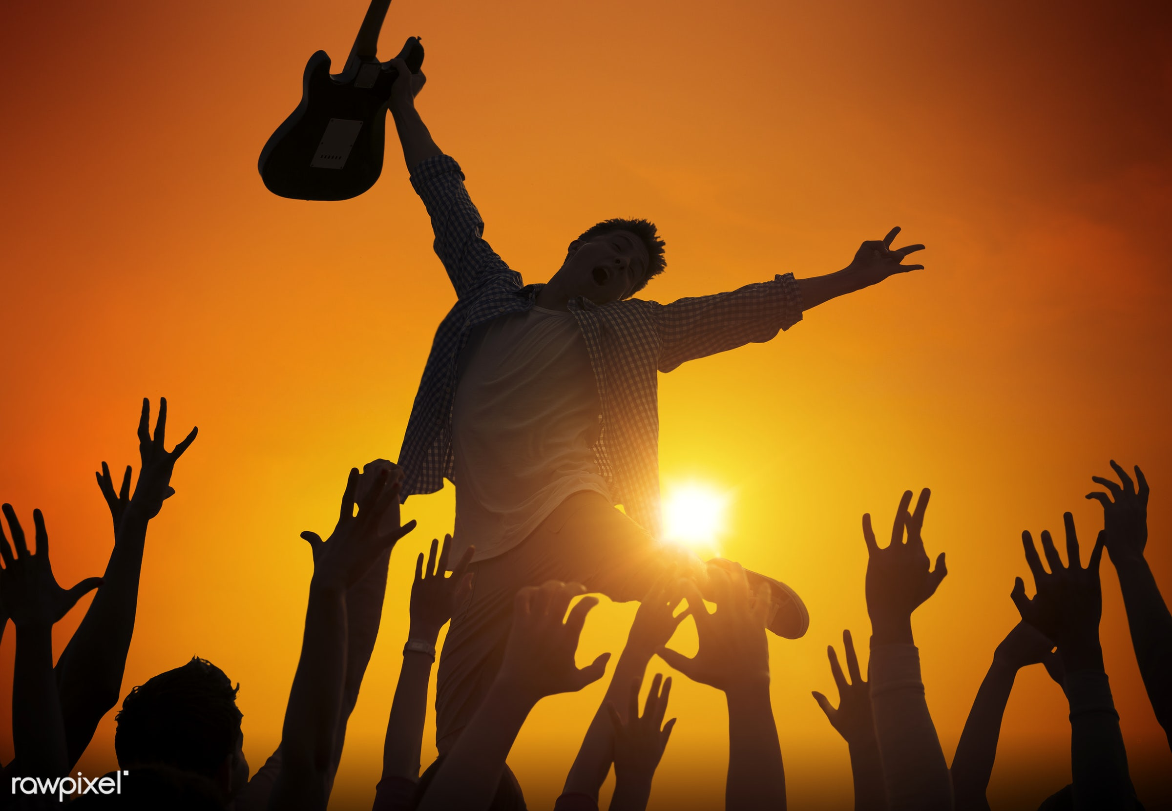 Silhouette of a musician at a concert - festival, jumping, adolescence, audience, back lit, beach, beach party, carefree,...