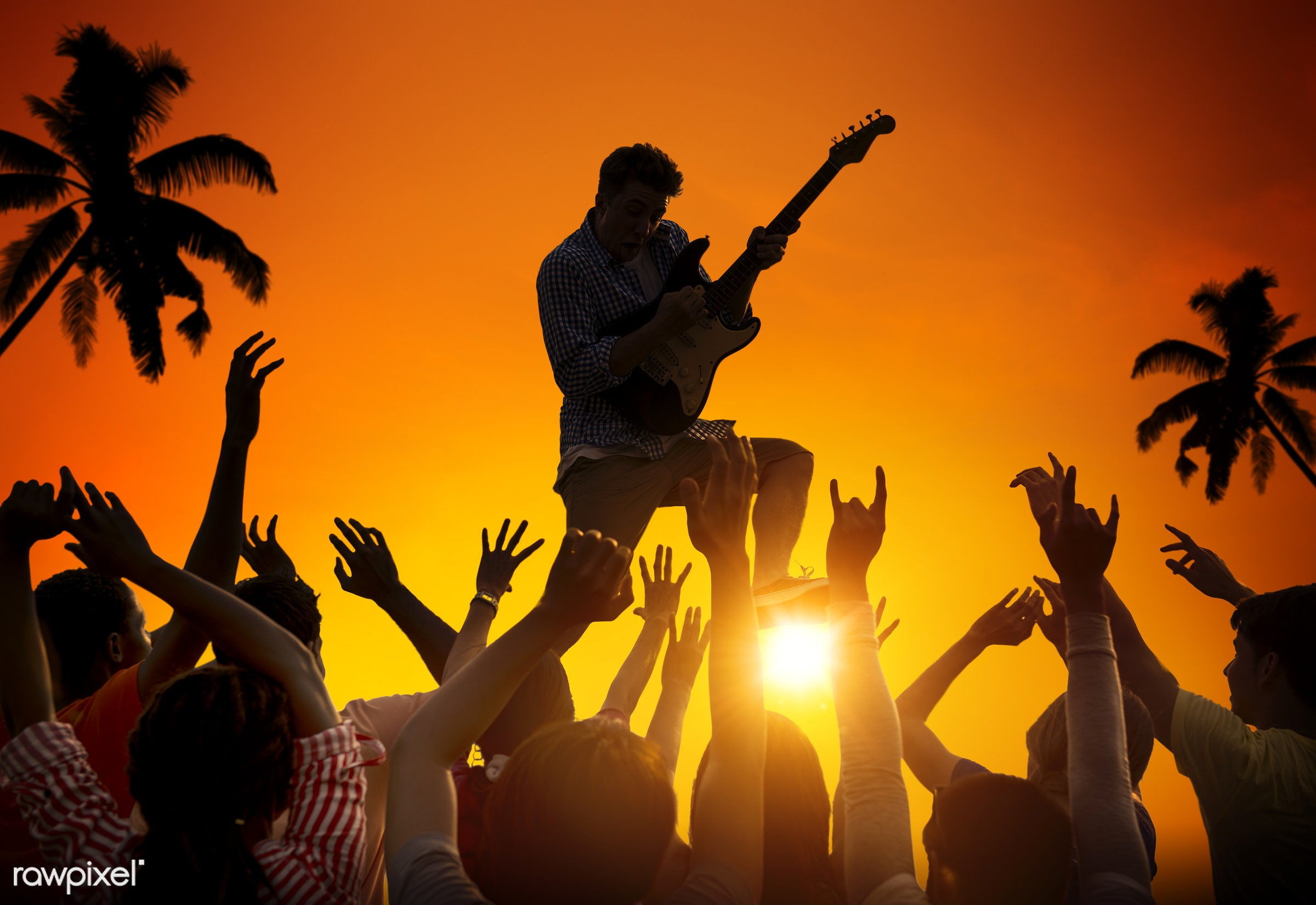 applauding, dusk, arms outstretched, arms raised, audience, beach, celebration, cheerful, cheering, coconut palm tree,...