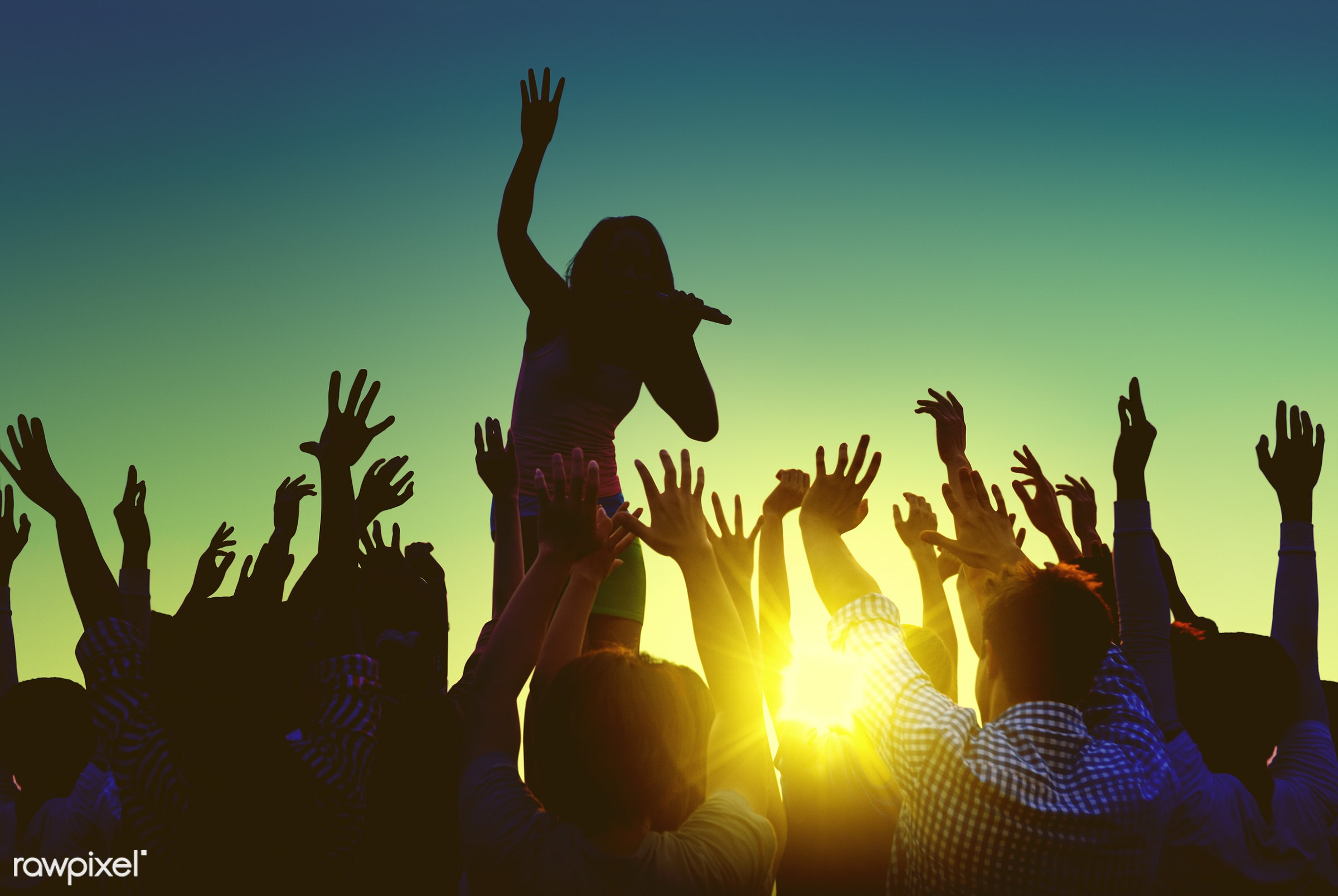 Silhouettes of a singer and a crowd - festival, music, audience, beach, singer, beer, event, alcohol, applauding, arms...