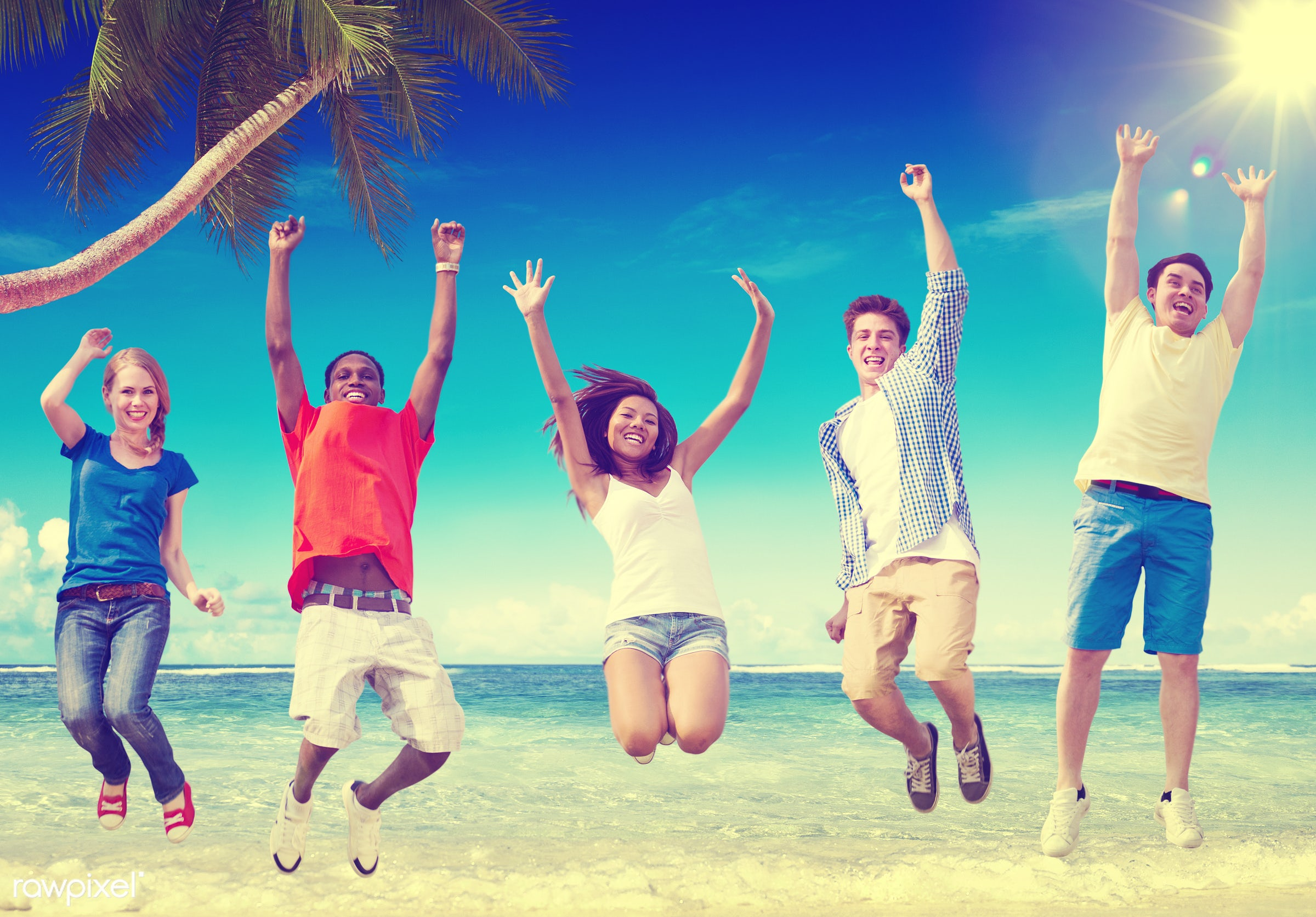 lifestyles, african, african american, african descent, arms outstretched, arms raised, asian, asian ethnicity, beach,...