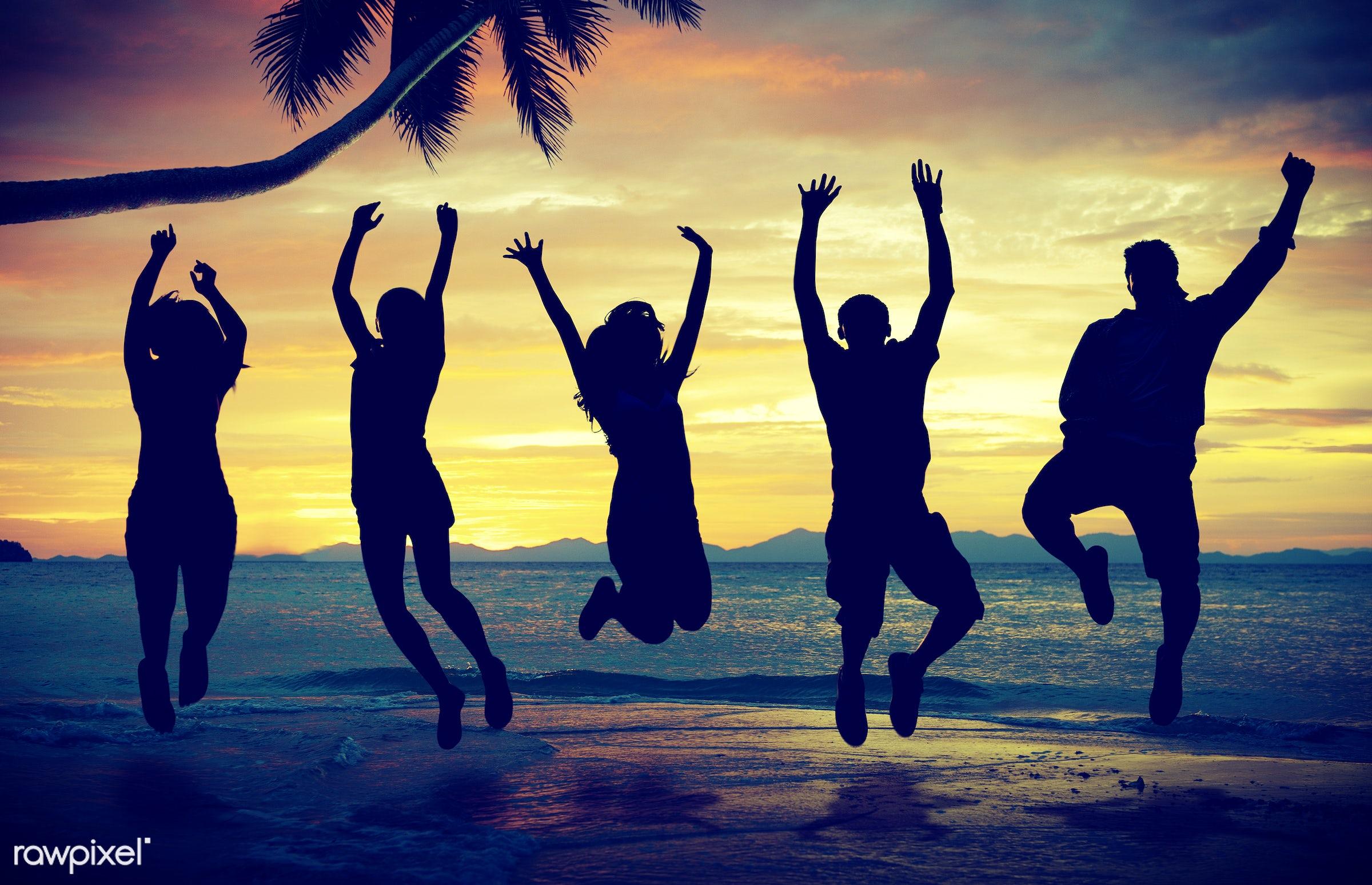 adult, african, african descent, back lit, ball, beach, beach ball, beach party, bikini, celebration, cheerful, cloudscape,...
