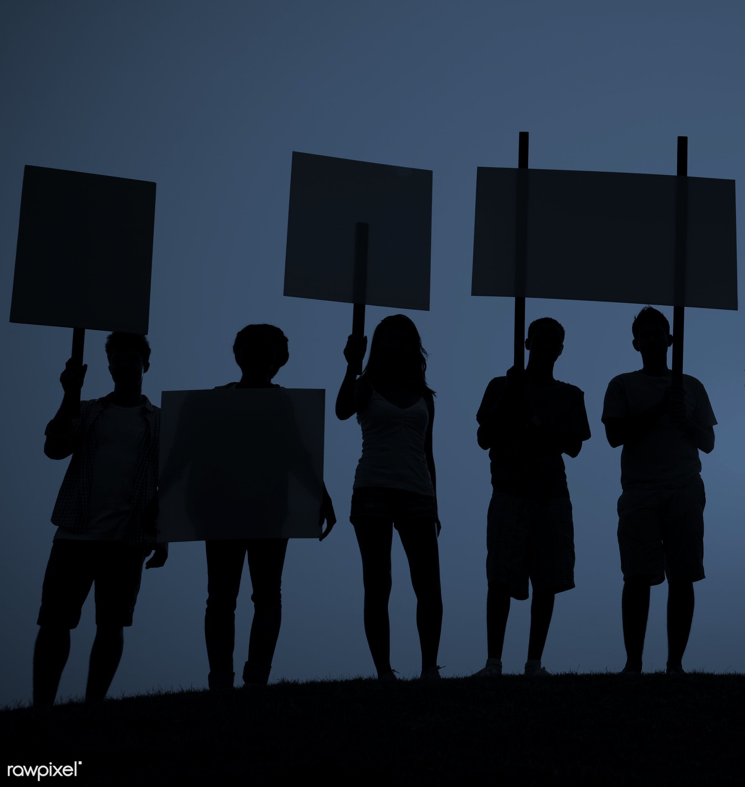 dusk, action, anger, communication, complaining, conflict, crowd, displeased, furious, group of people, holding, in a row,...