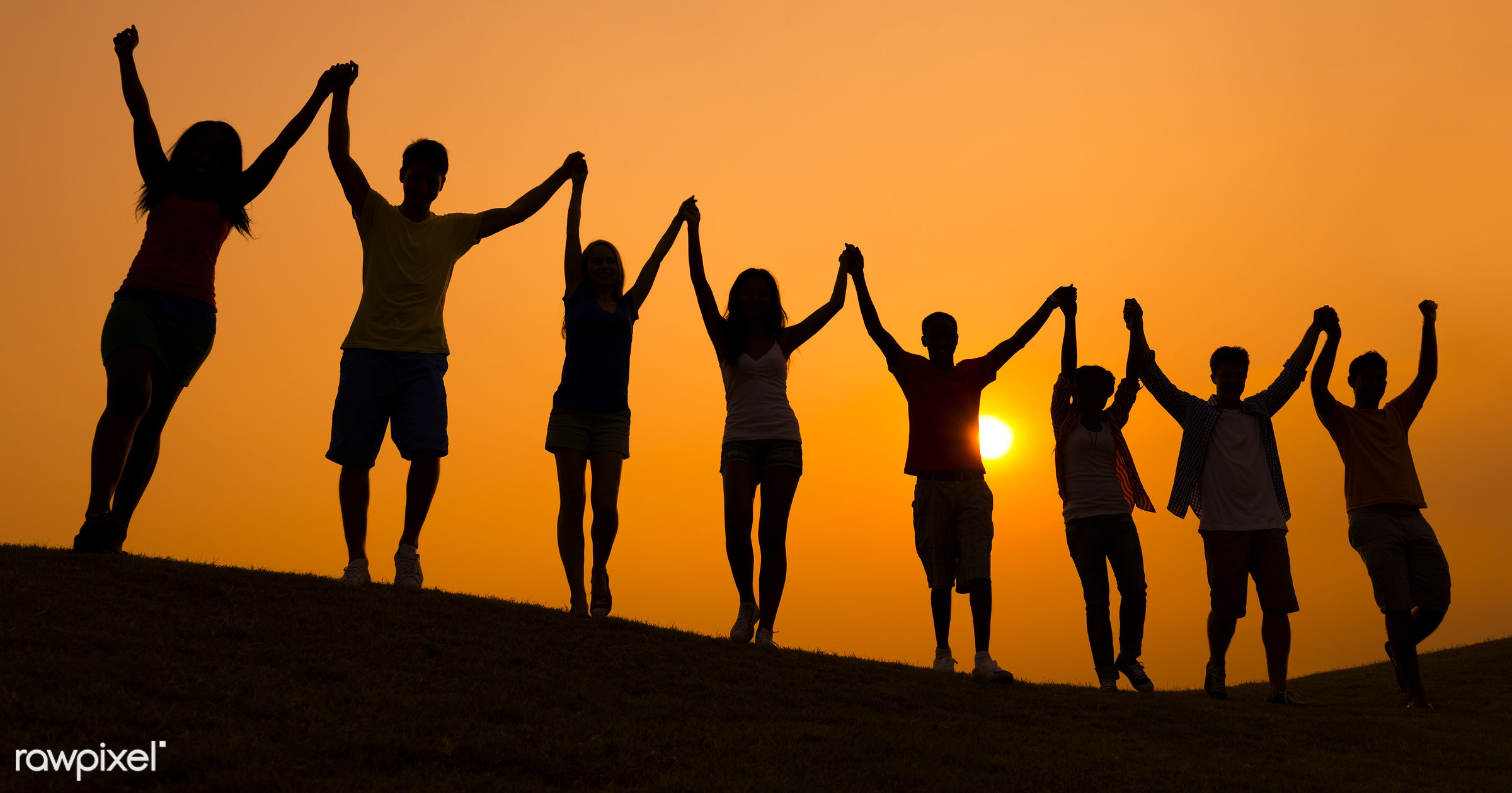 achievement, arms outstretched, arms raised, casual, celebration, cheerful, color image, community, teamwork, group of...