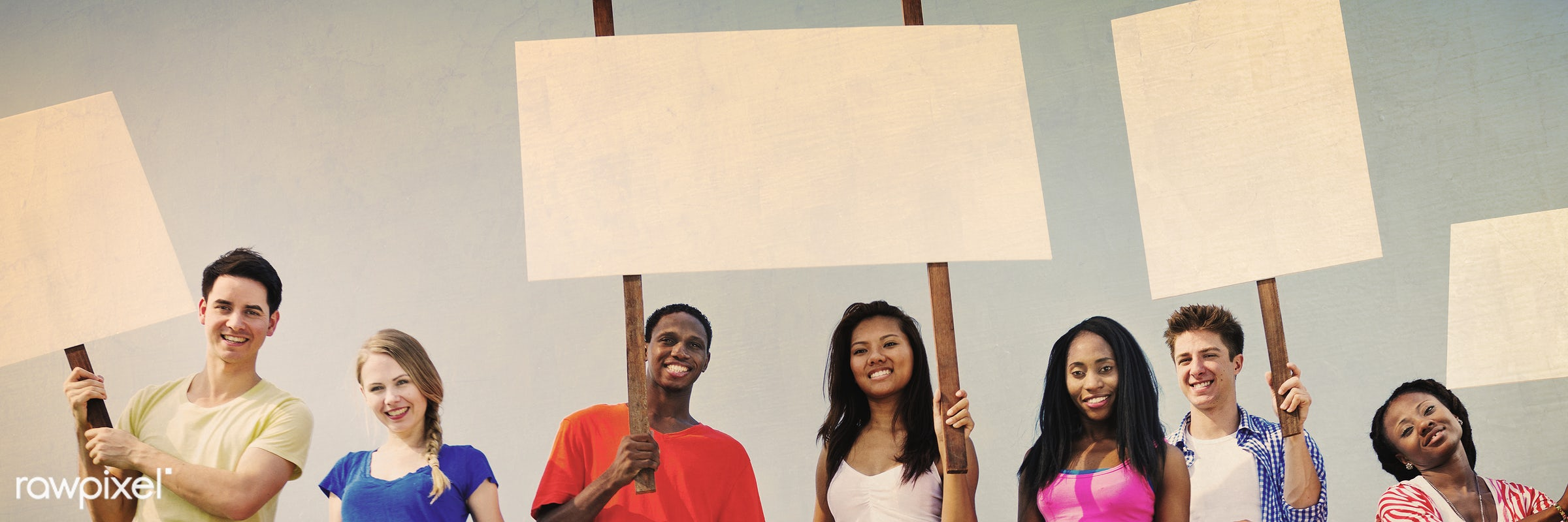 african descent, asian ethnicity, blank, blue sky, casual, cheerful, cheering, colorful, community, concept, cooperation,...
