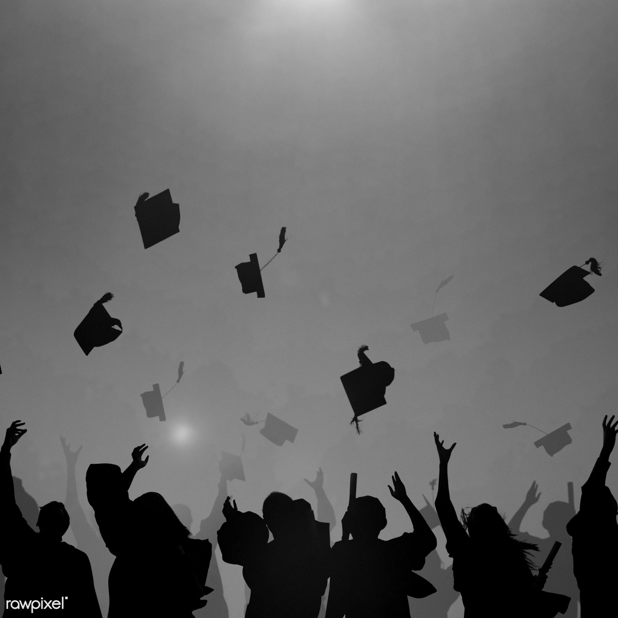 academic, accomplishment, achievement, african descent, african ethnicity, black, blue background, campus, cap, celebration...