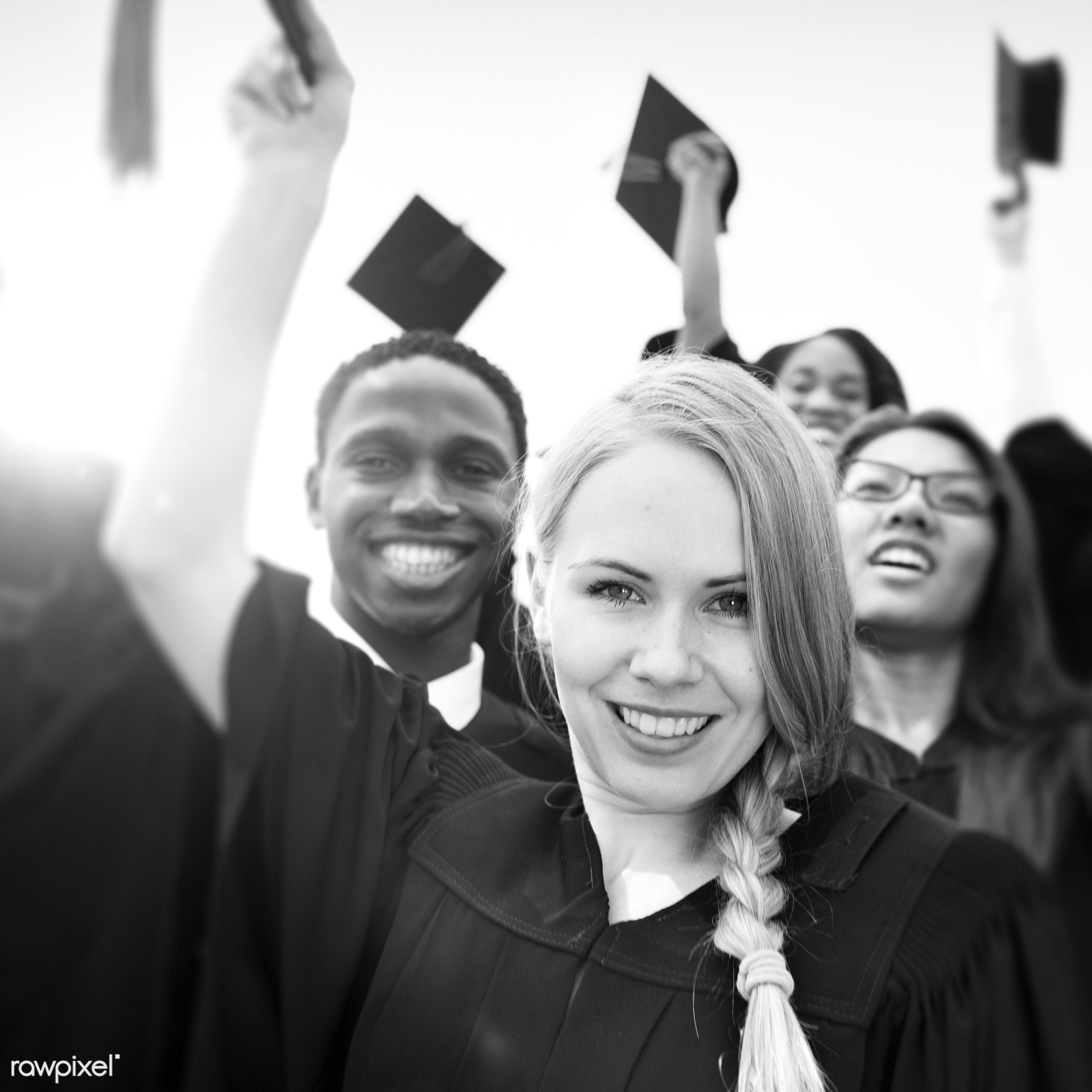 Group of diverse graduating students - academic, achievement, campus, cap, celebration, ceremony, certificate, cheerful,...