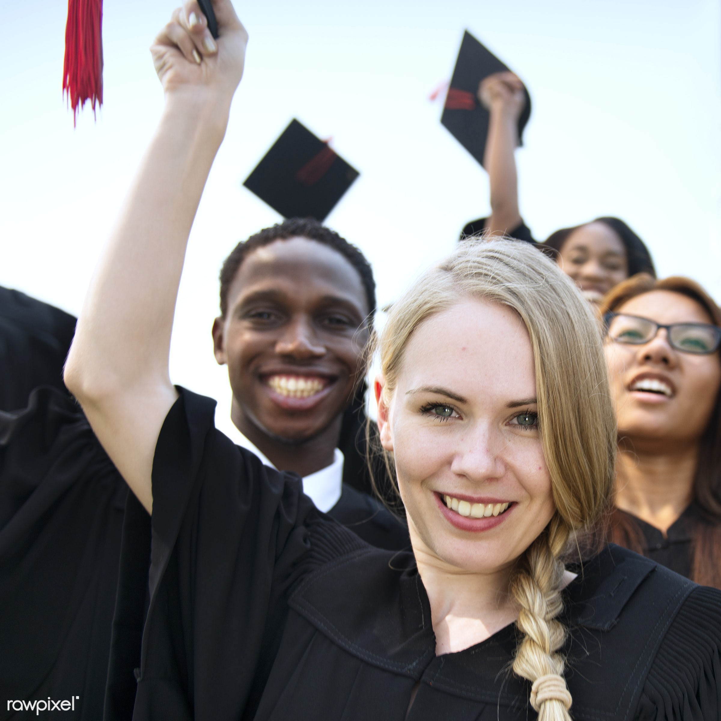 celebration, cheerful, college, education, field, finished, gown, graduate, graduation, graduation cap, grass, group, group...