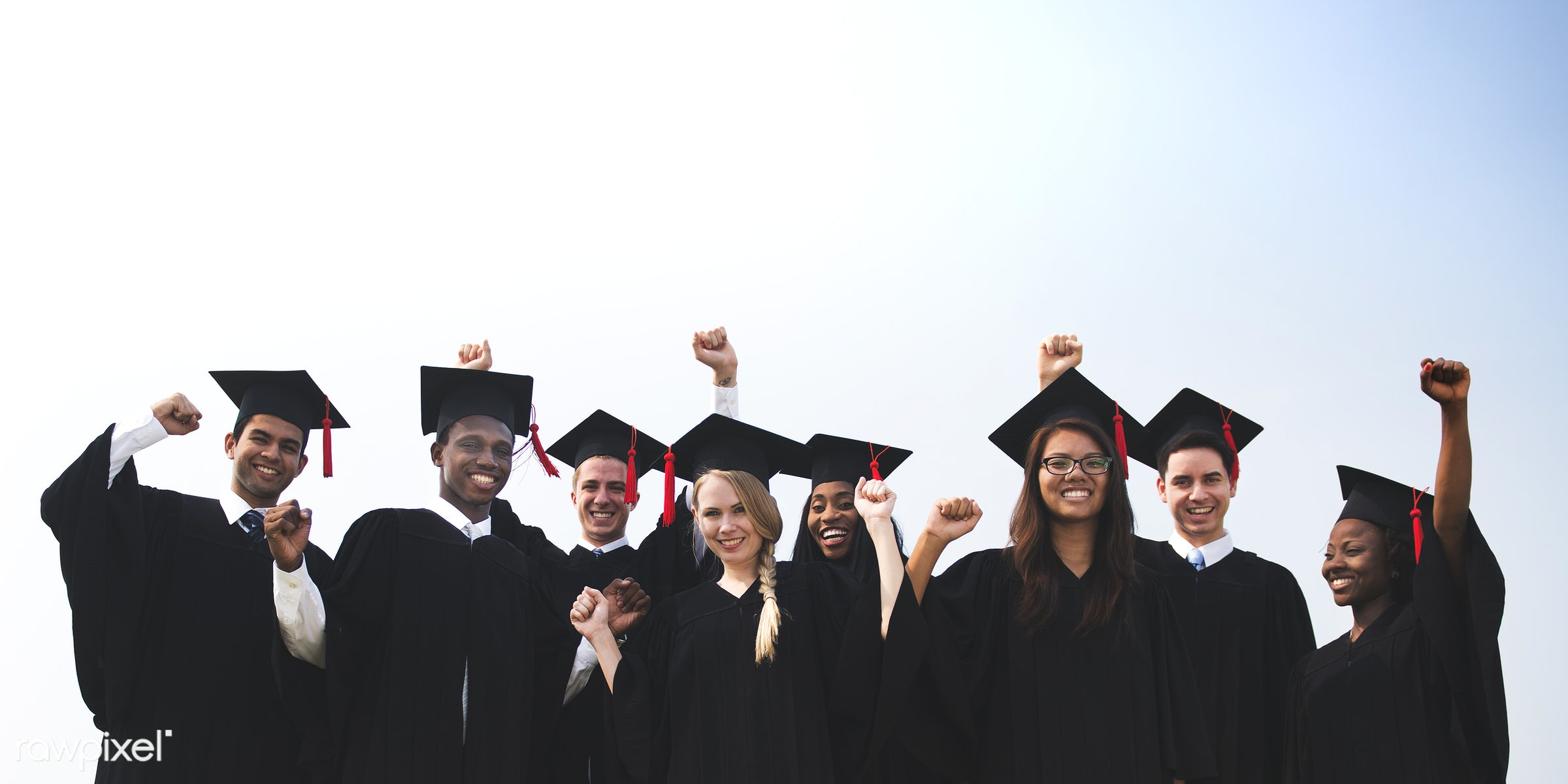 african american, african descent, arms raised, asian ethnicity, black, cap, celebration, cheerful, college, congratulations...