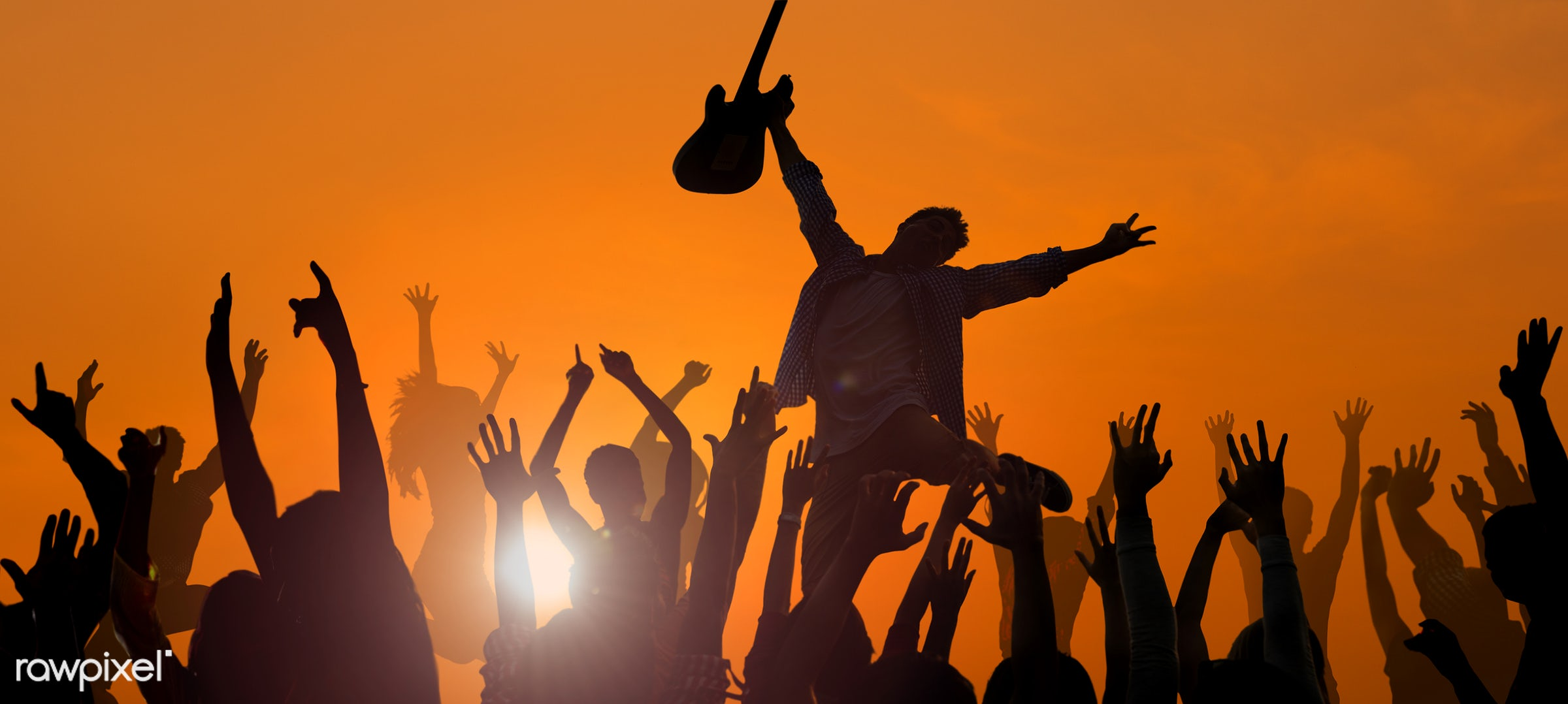 adolescence, audience, back lit, beach, beach party, carefree, celebration, cheerful, concert, dancing, ecstatic, enjoyment...