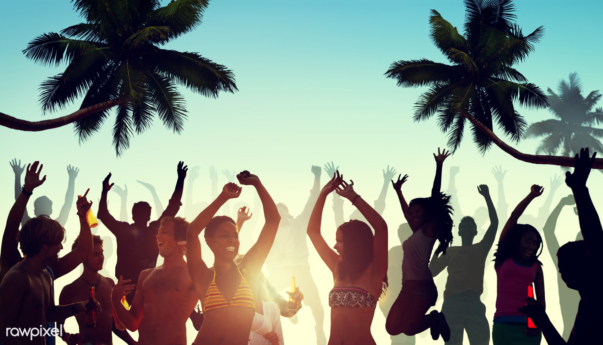 beach, youth, bikini, crowd, beer, party, alcohol, activity, adult, arms outstretched, arms raised, back lit, celebration,...